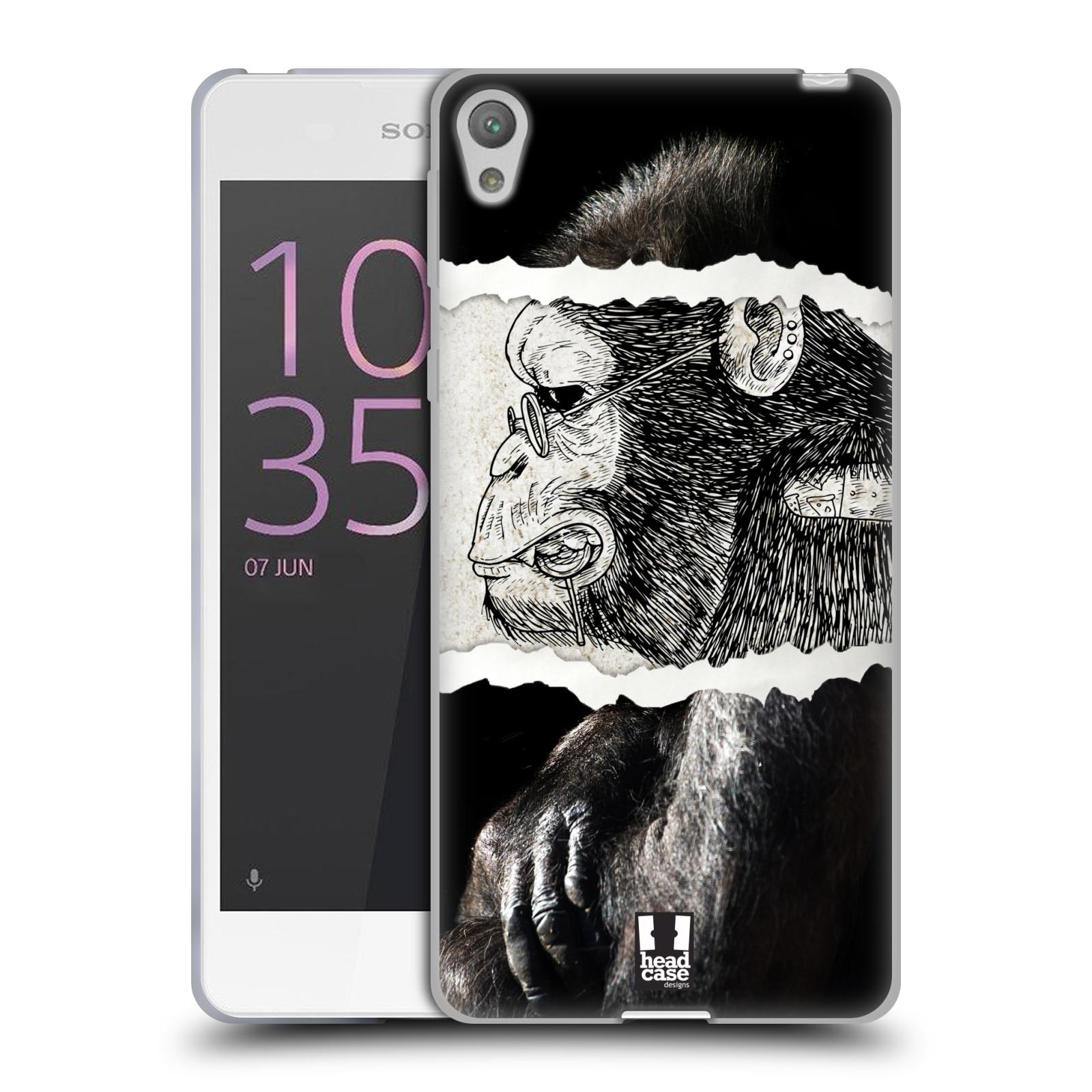 HEAD CASE silikonový obal na mobil SONY XPERIA E5 vzor zvířata koláž opice