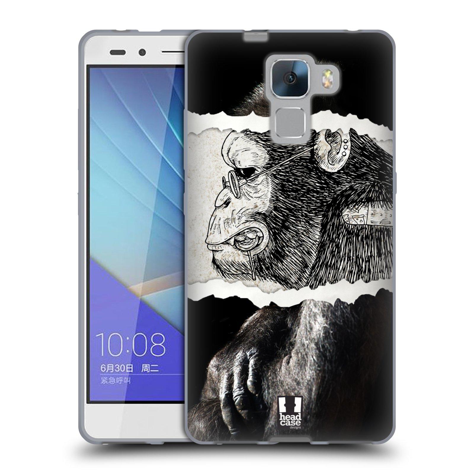 HEAD CASE silikonový obal na mobil HUAWEI HONOR 7 vzor zvířata koláž opice