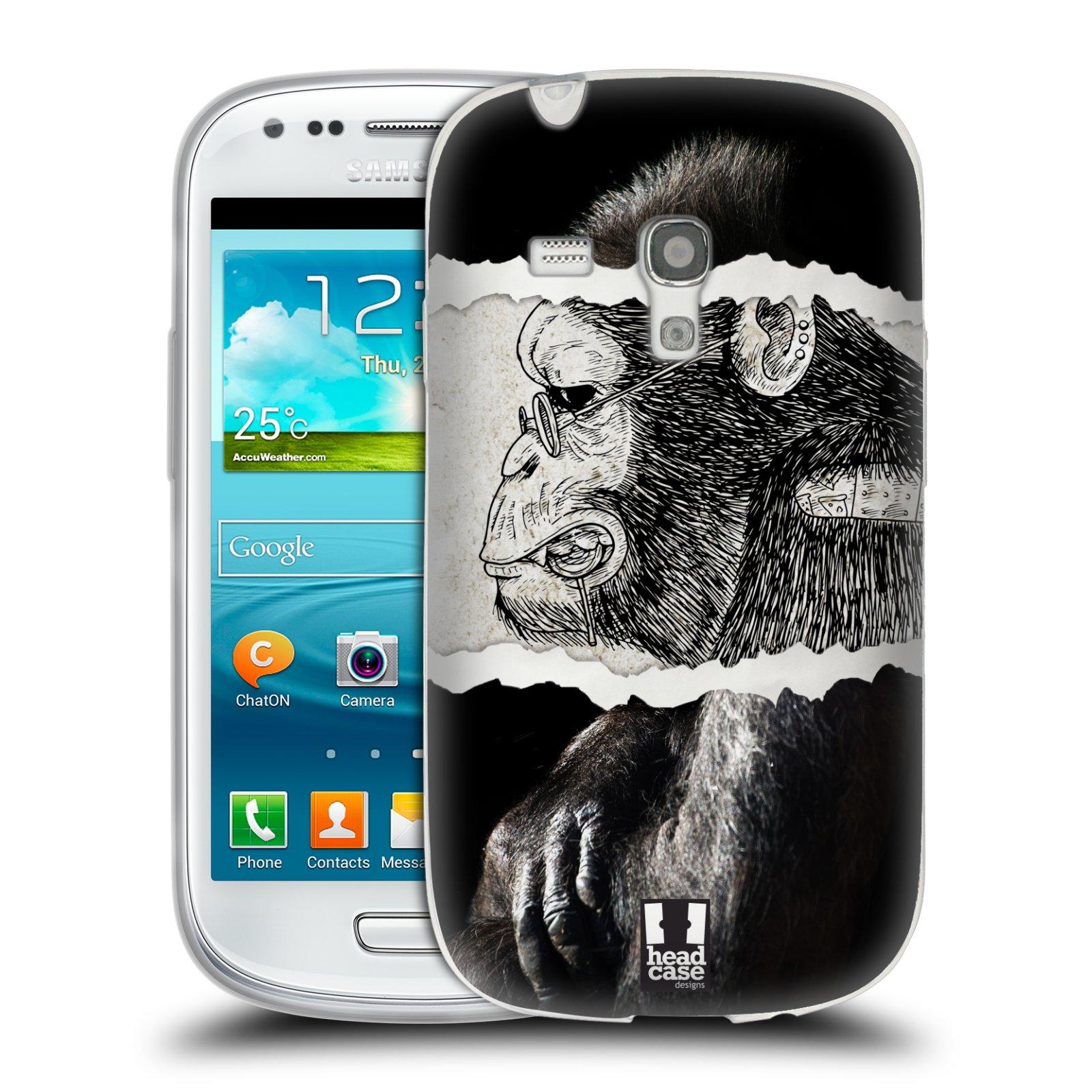 HEAD CASE silikonový obal na mobil Samsung Galaxy S3 MINI i8190 vzor zvířata koláž opice