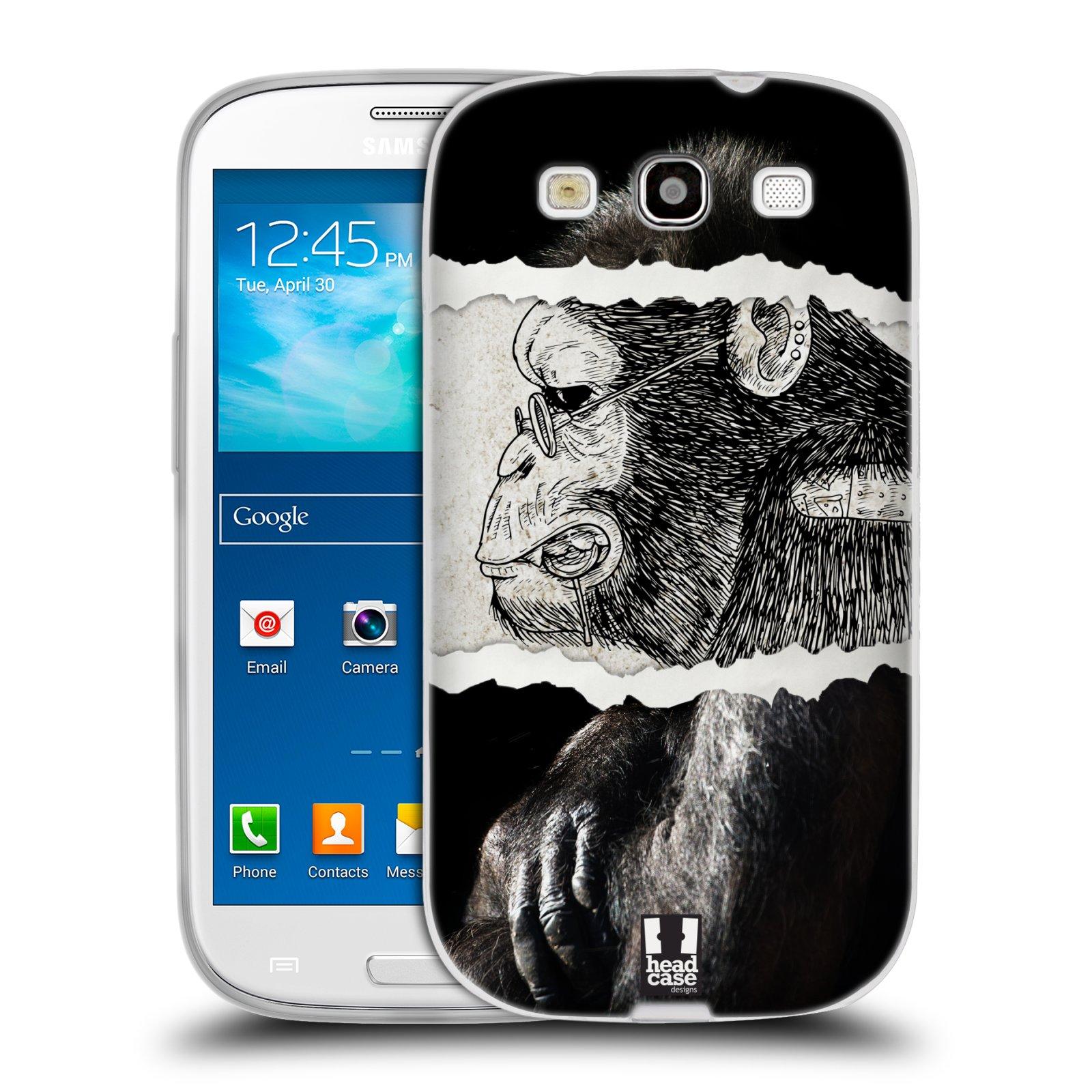HEAD CASE silikonový obal na mobil Samsung Galaxy S3 i9300 vzor zvířata koláž opice