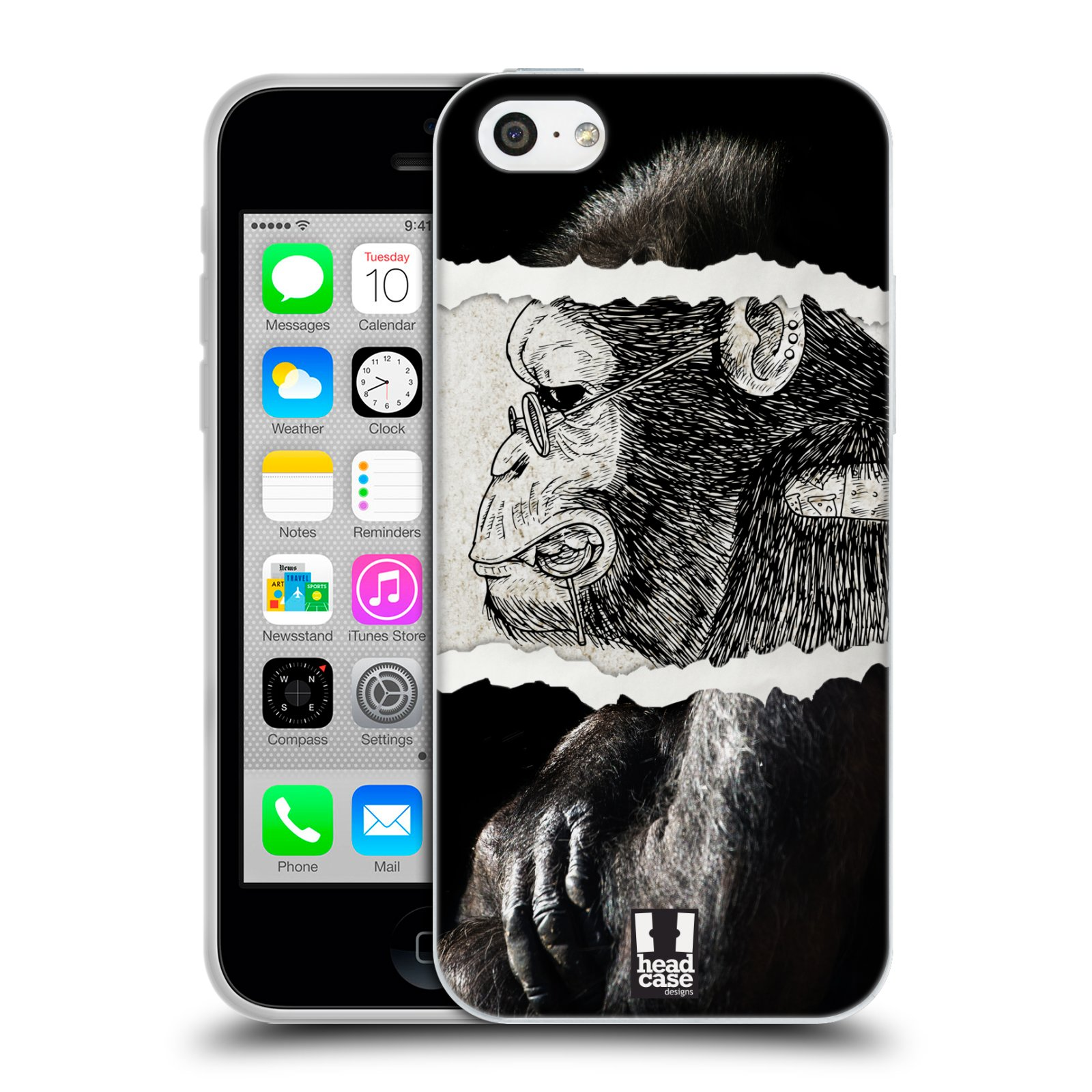 HEAD CASE silikonový obal na mobil Apple Iphone 5C vzor zvířata koláž opice