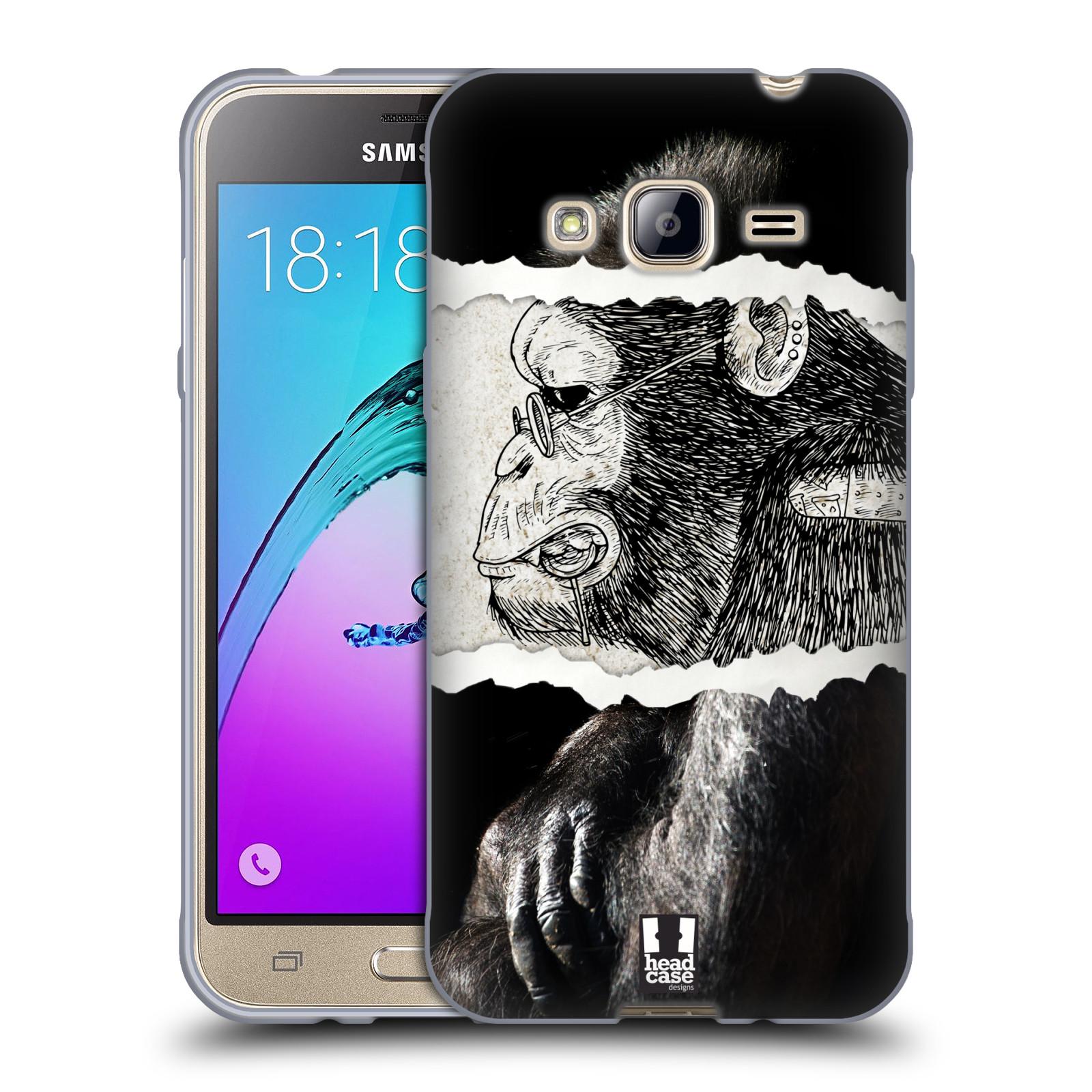 HEAD CASE silikonový obal na mobil Samsung Galaxy J3, J3 2016 vzor zvířata koláž opice