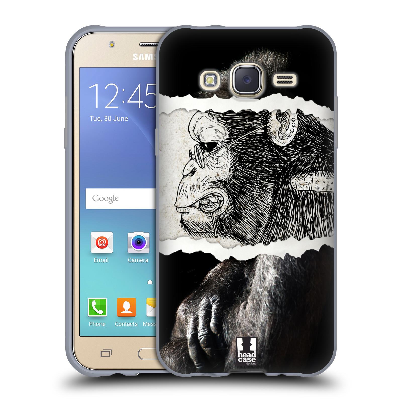 HEAD CASE silikonový obal na mobil Samsung Galaxy J5, J500, (J5 DUOS) vzor zvířata koláž opice