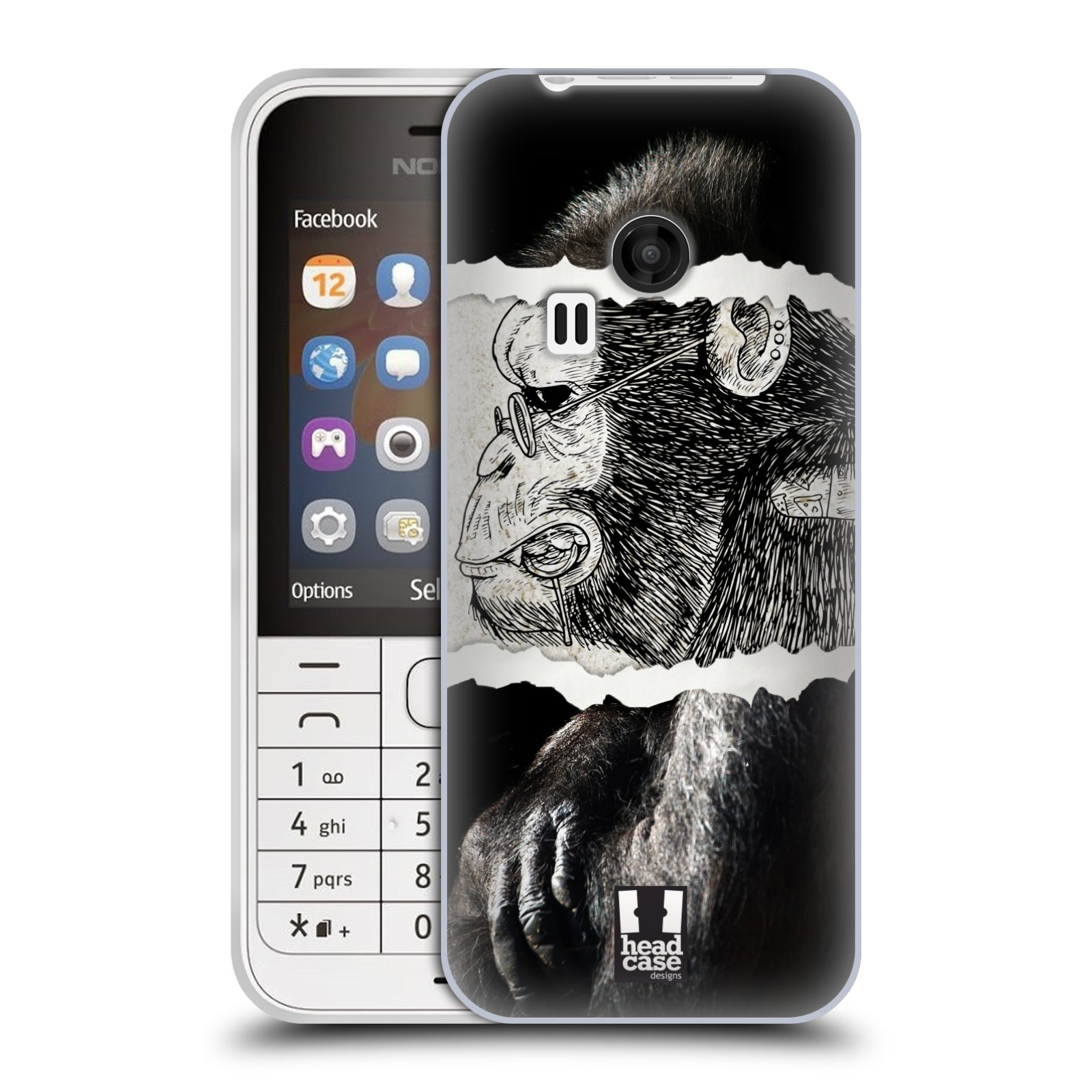 HEAD CASE silikonový obal na mobil NOKIA 220 / NOKIA 220 DUAL SIM vzor zvířata koláž opice