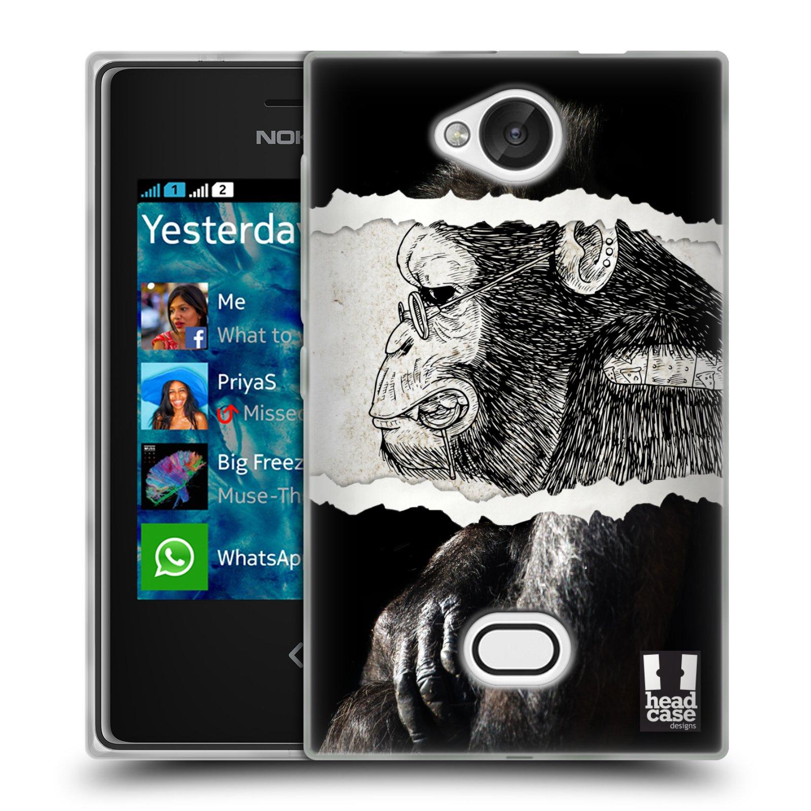 HEAD CASE silikonový obal na mobil NOKIA Asha 503 vzor zvířata koláž opice