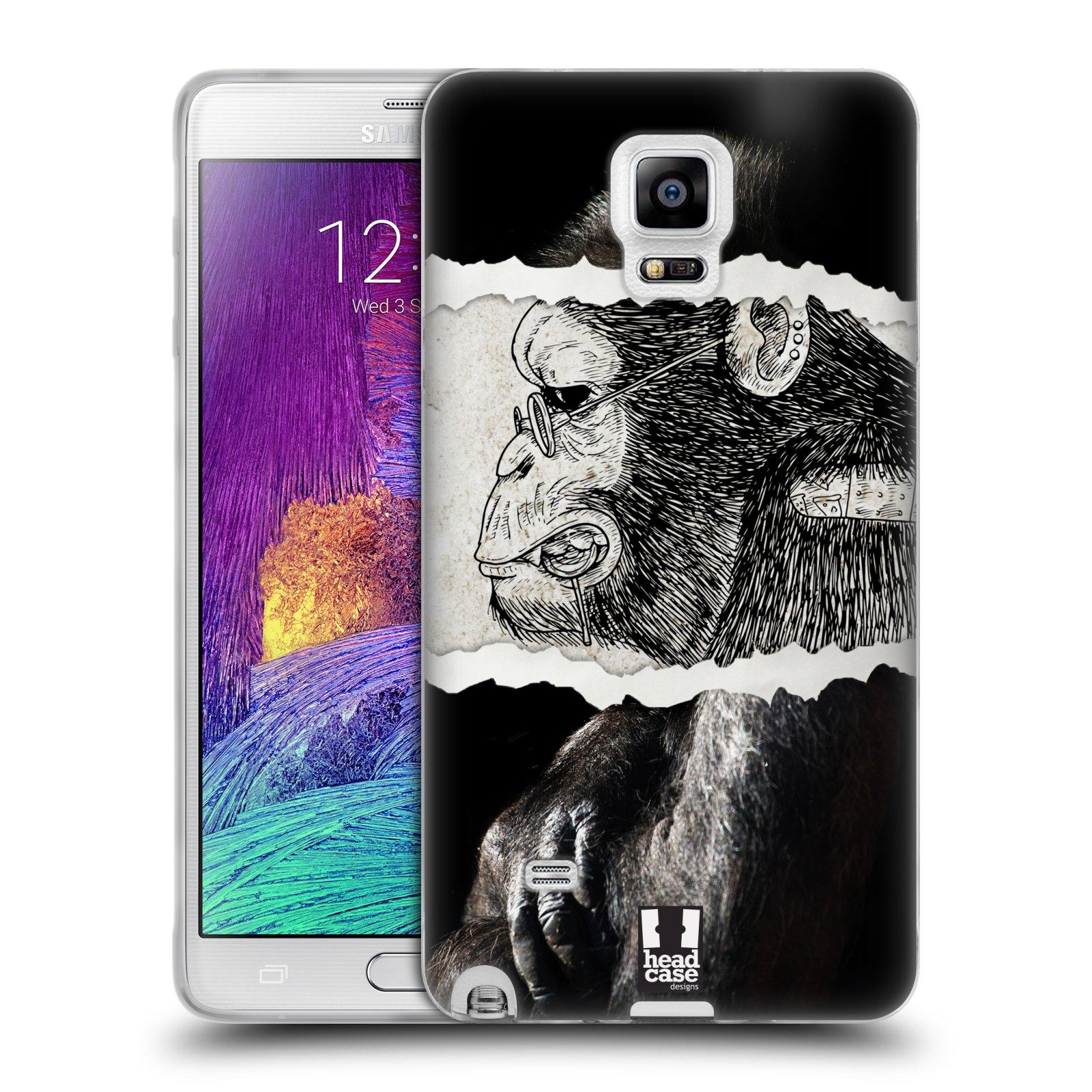 HEAD CASE silikonový obal na mobil Samsung Galaxy Note 4 (N910) vzor zvířata koláž opice