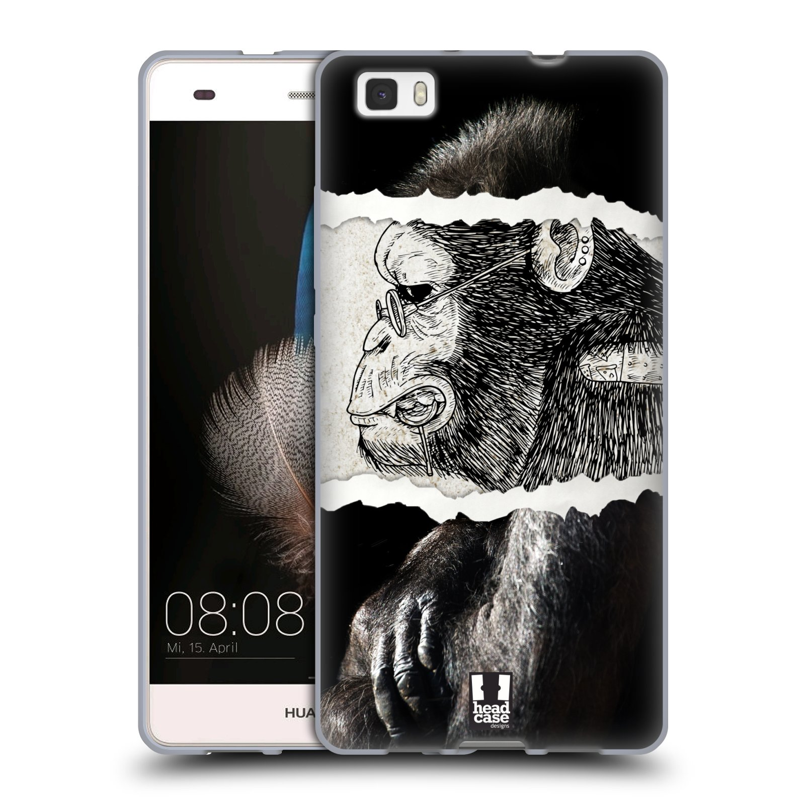 HEAD CASE silikonový obal na mobil HUAWEI P8 LITE vzor zvířata koláž opice