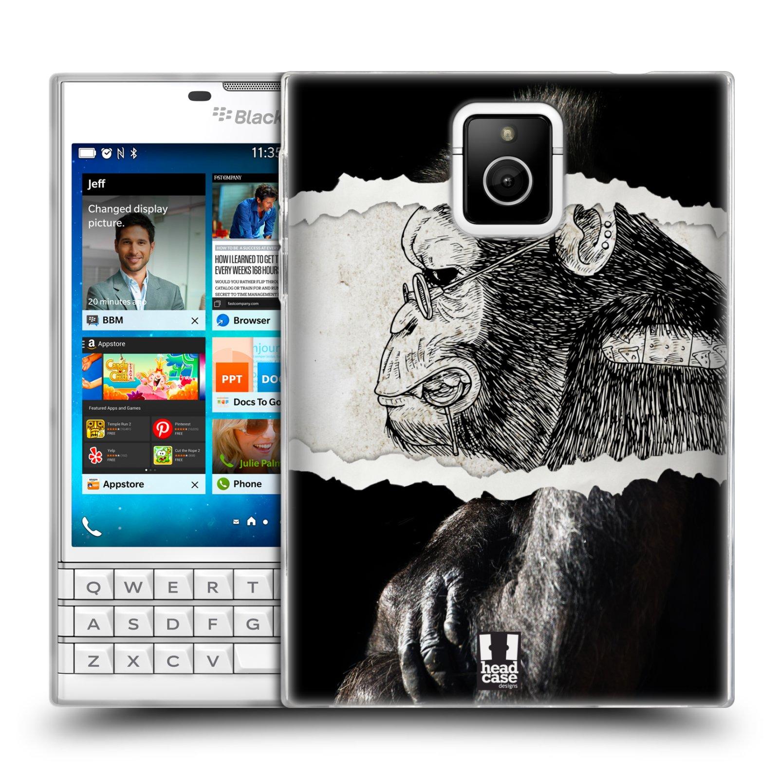 HEAD CASE silikonový obal na mobil Blackberry PASSPORT vzor zvířata koláž opice