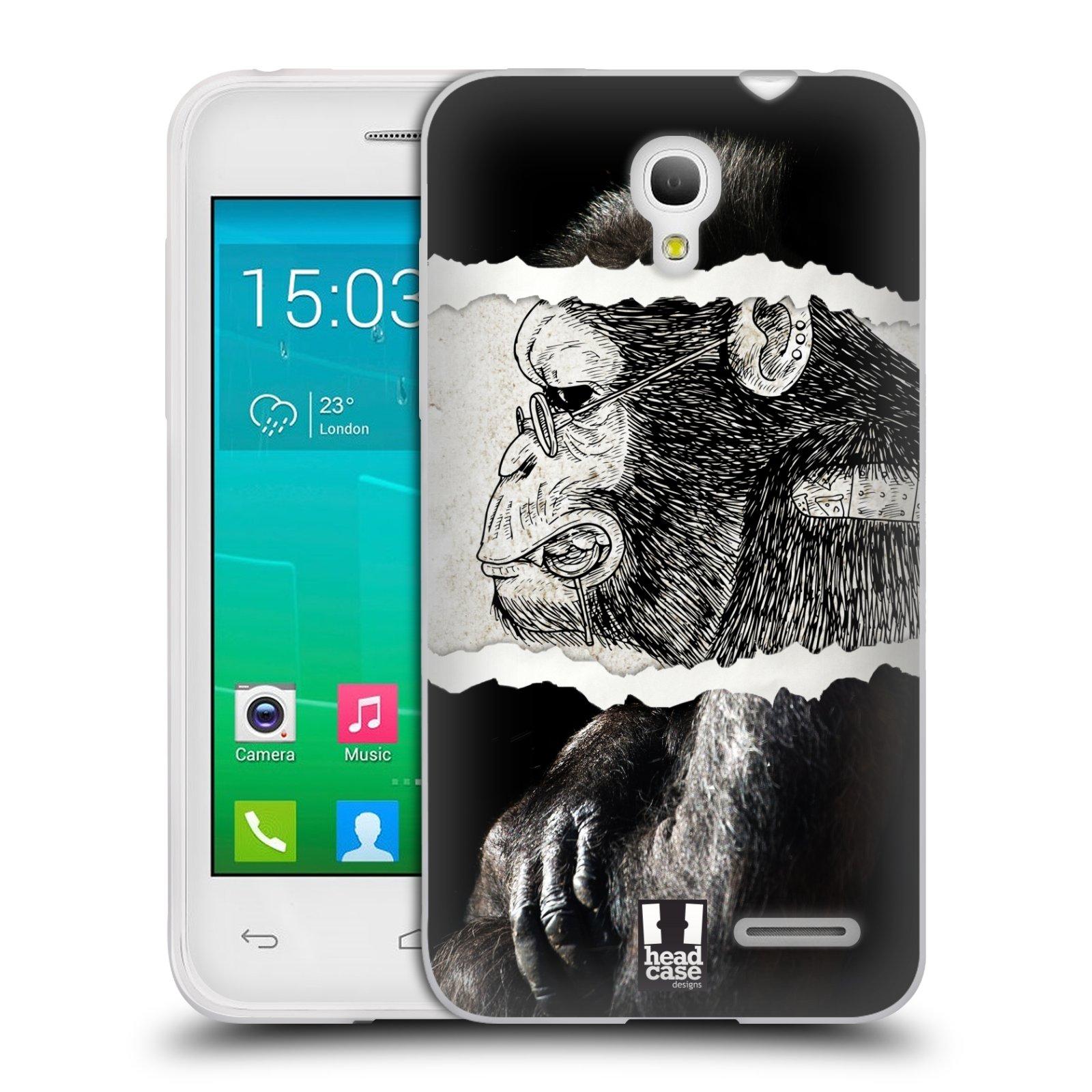 HEAD CASE silikonový obal na mobil Alcatel POP S3 OT-5050Y vzor zvířata koláž opice