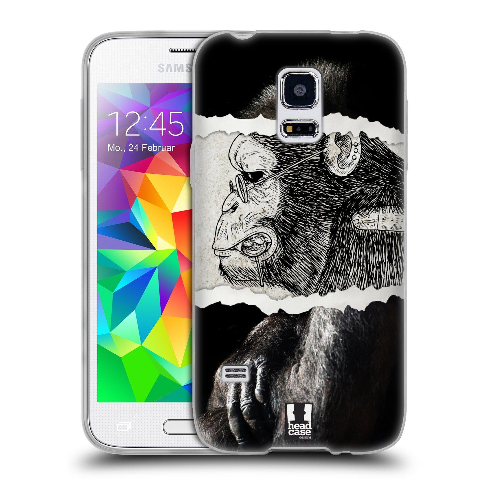 HEAD CASE silikonový obal na mobil Samsung Galaxy S5 MINI vzor zvířata koláž opice