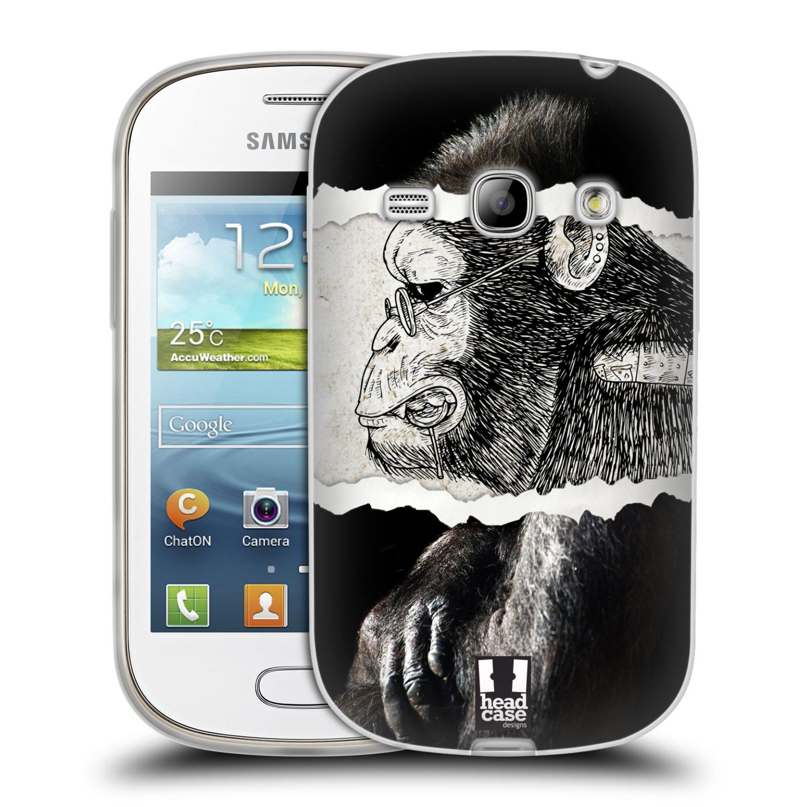 HEAD CASE silikonový obal na mobil Samsung Galaxy FAME vzor zvířata koláž opice