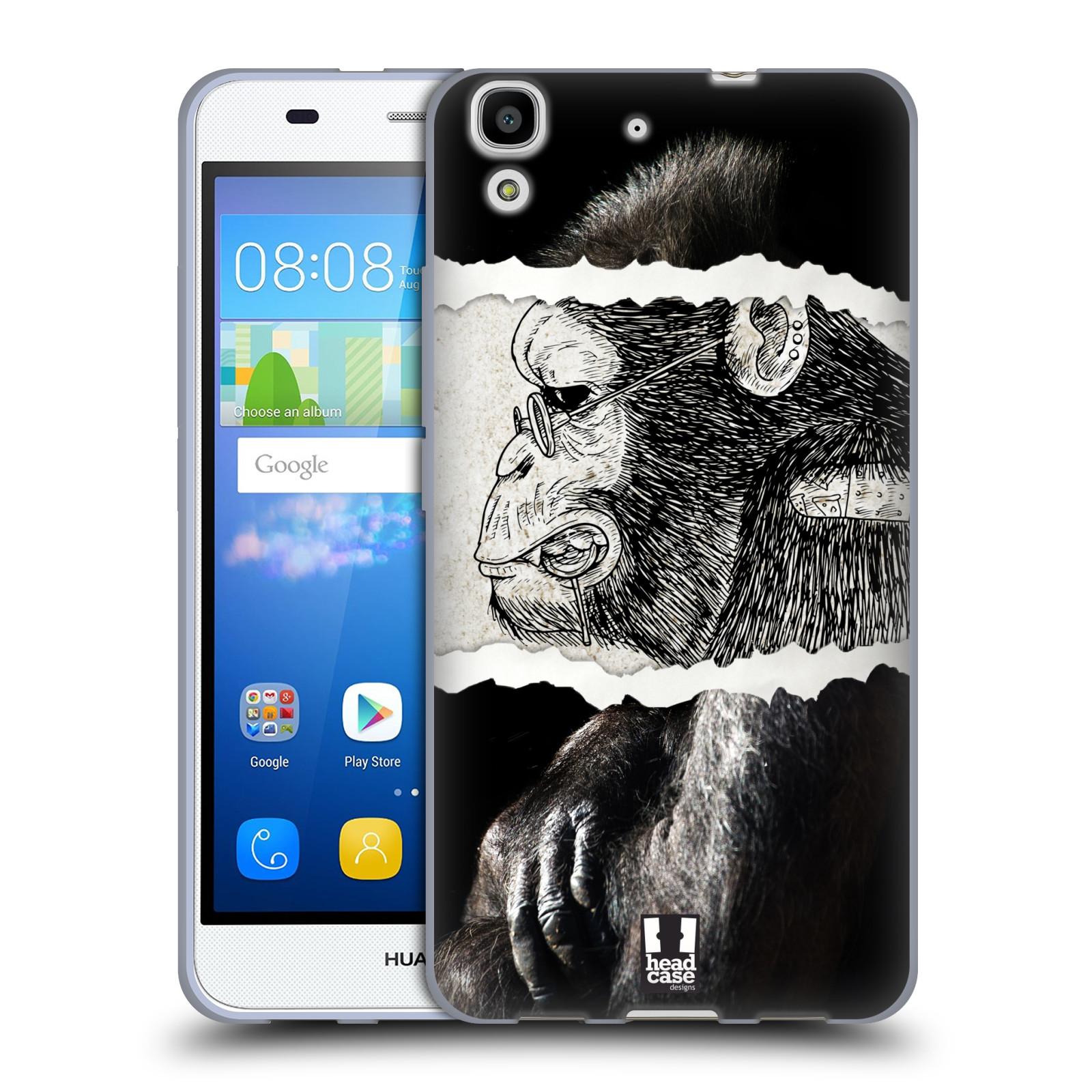 HEAD CASE silikonový obal na mobil HUAWEI Y6 vzor zvířata koláž opice
