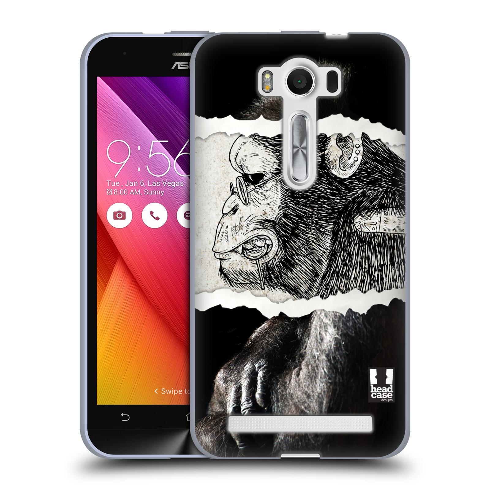 """HEAD CASE silikonový obal na mobil Asus Zenfone 2 LASER (ZE500KL s 5"""" displejem) vzor zvířata koláž opice"""