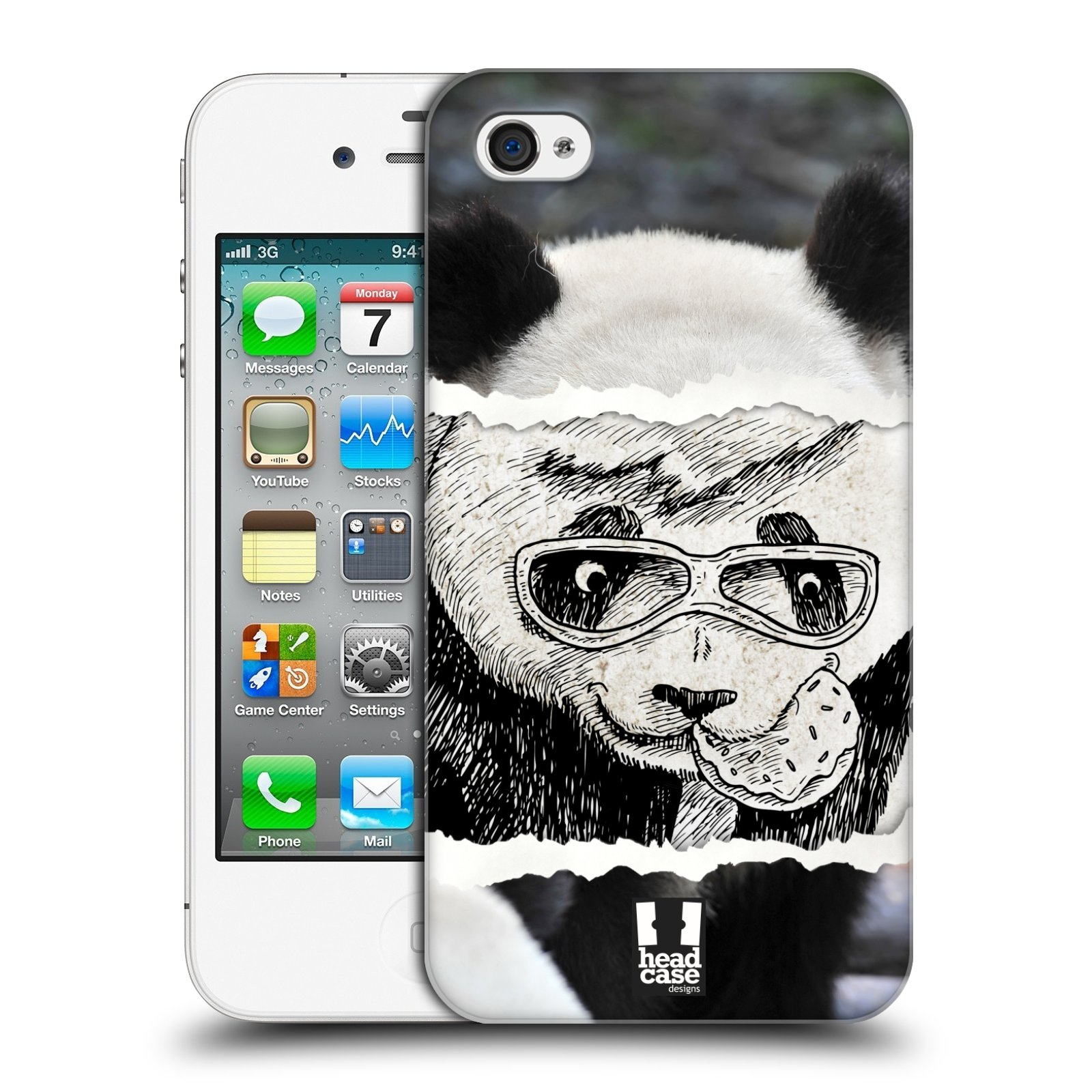 HEAD CASE plastový obal na mobil Apple Iphone 4/4S vzor zvířata koláž roztomilá panda