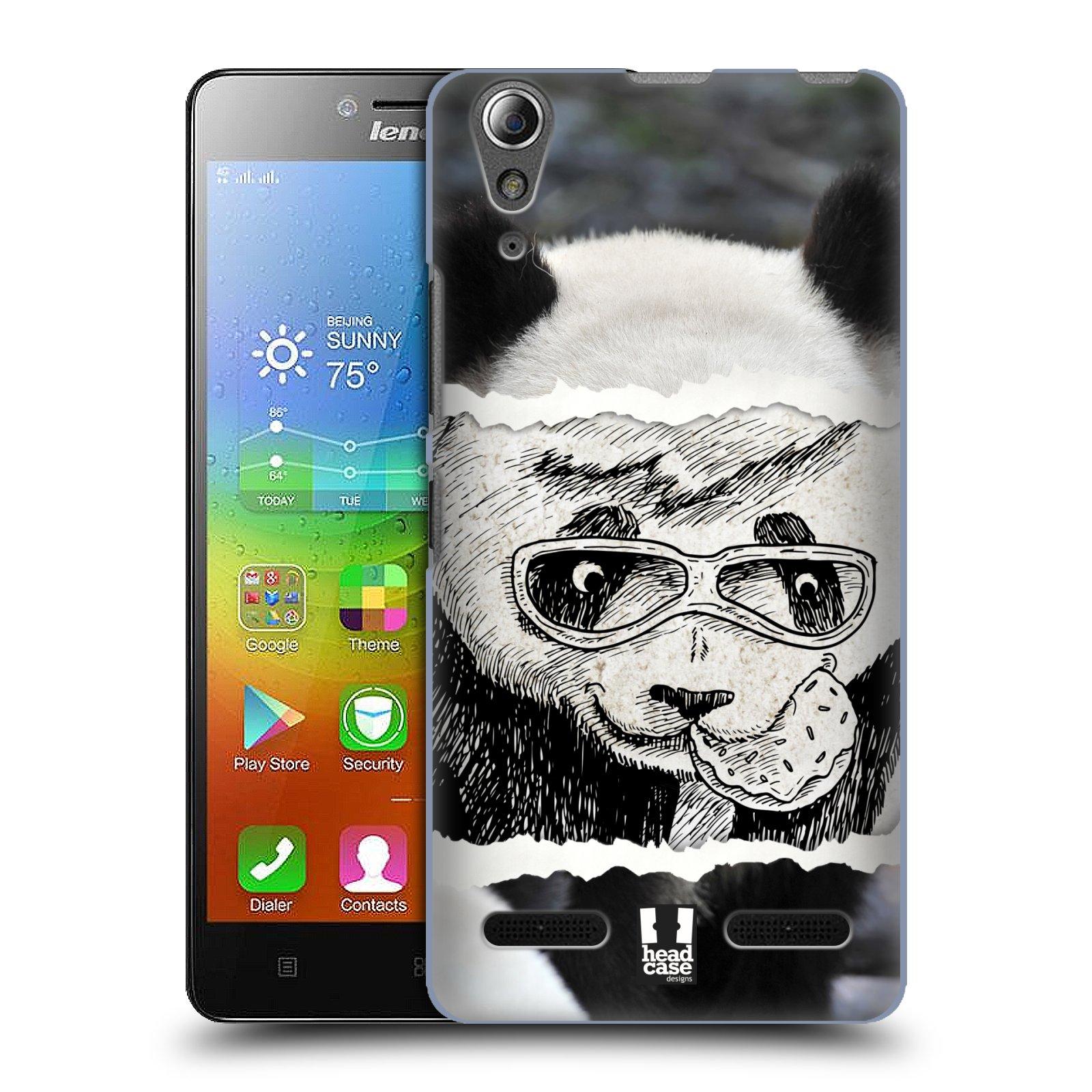 HEAD CASE pevný plastový obal na mobil LENOVO A6000 / A6000 PLUS vzor zvířata koláž roztomilá panda