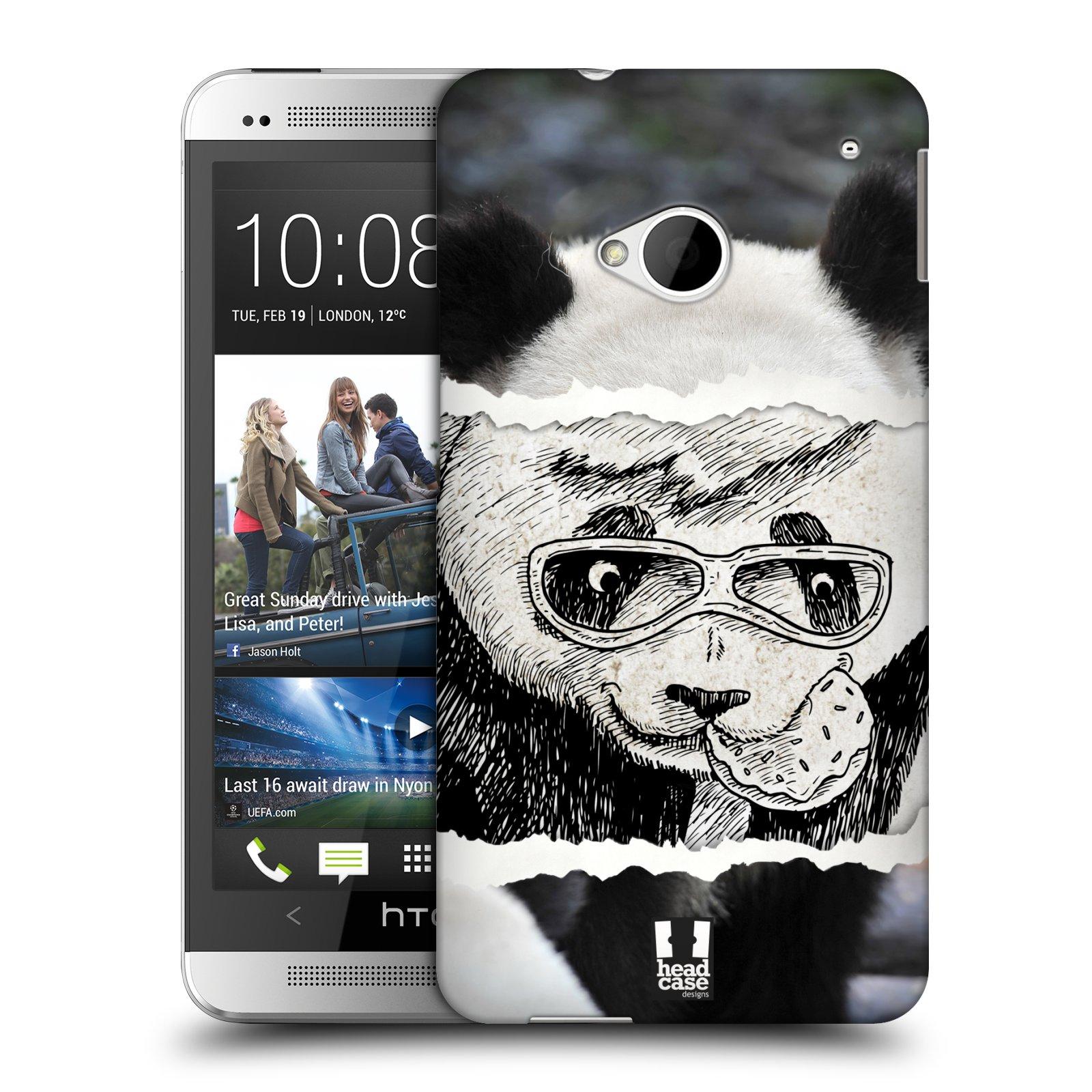 HEAD CASE plastový obal na mobil HTC One (M7) vzor zvířata koláž roztomilá panda