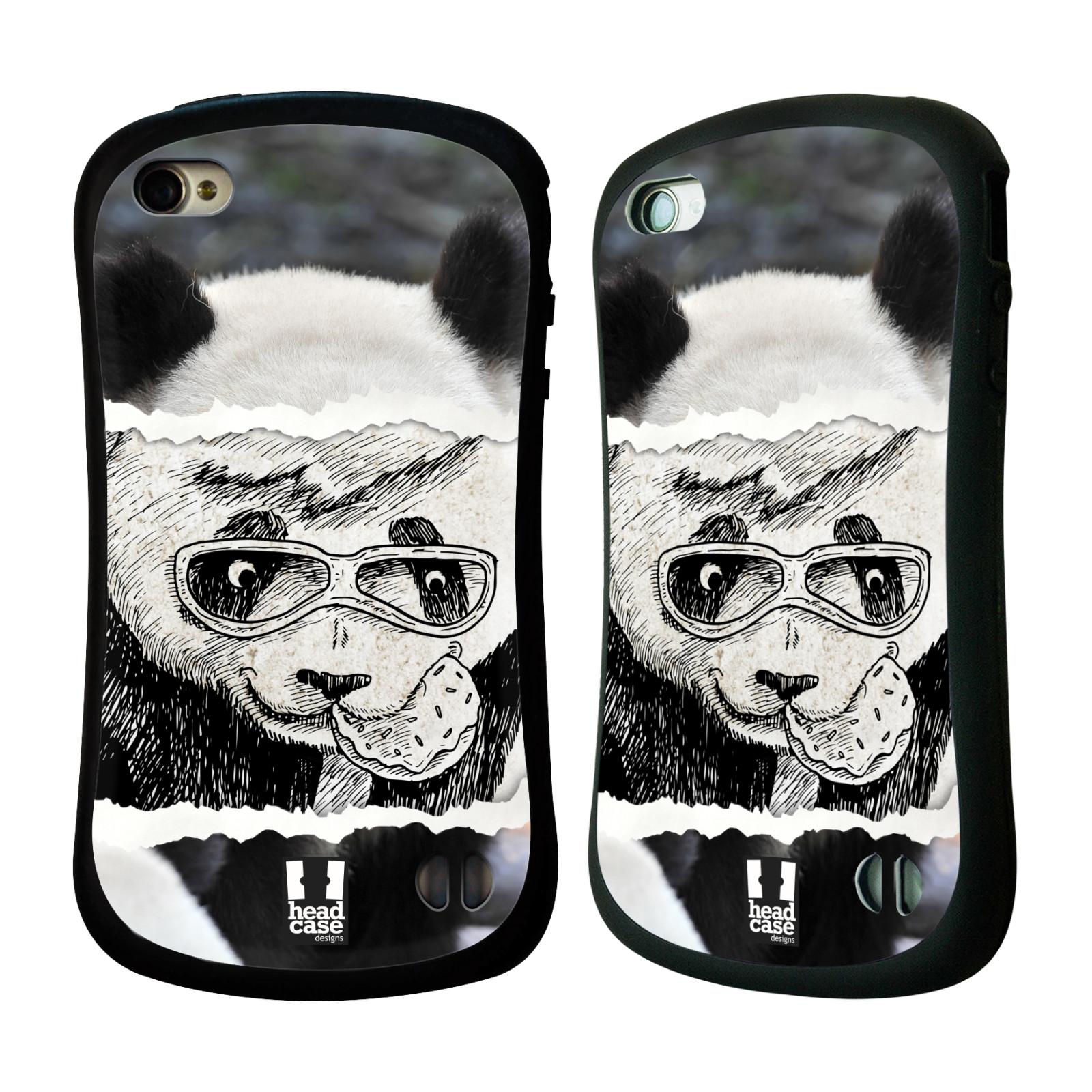 HEAD CASE silikon/plast odolný obal na mobil Apple Iphone 4/4S vzor zvířata koláž roztomilá panda