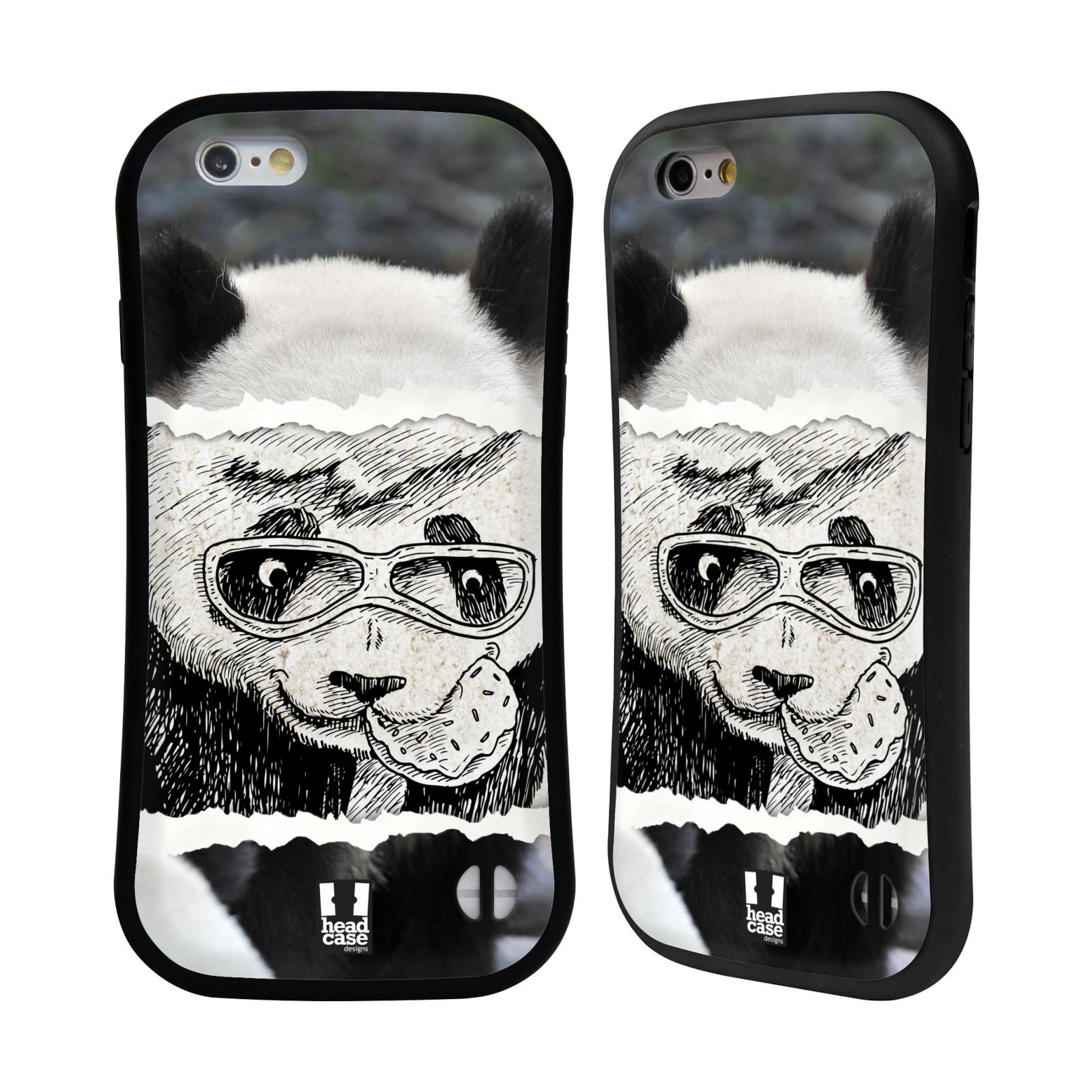HEAD CASE silikon/plast odolný obal na mobil Apple Iphone 6/6S vzor zvířata koláž roztomilá panda