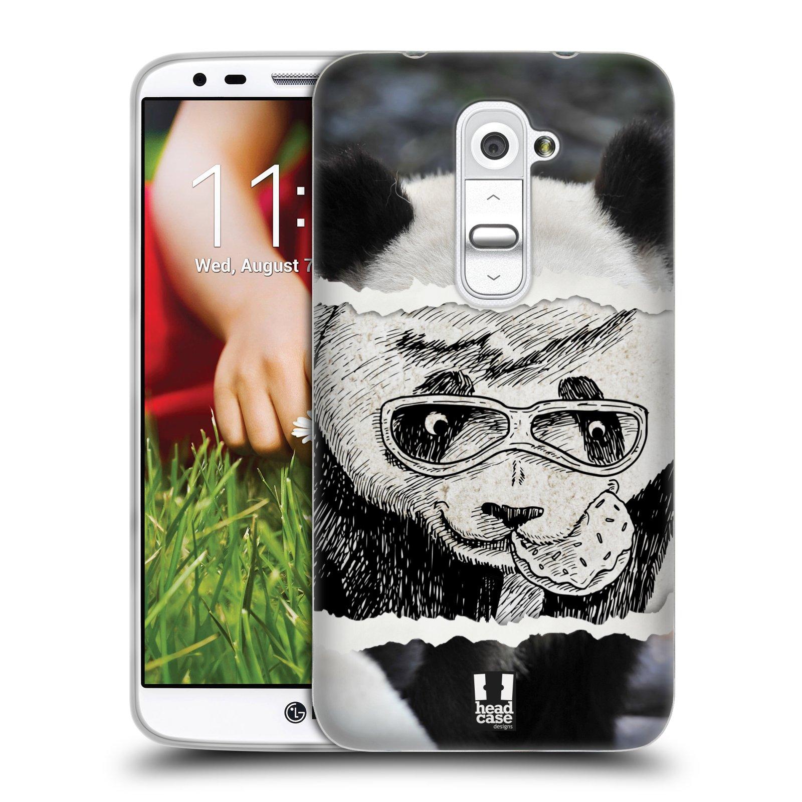 HEAD CASE silikonový obal na mobil LG G2 vzor zvířata koláž roztomilá panda