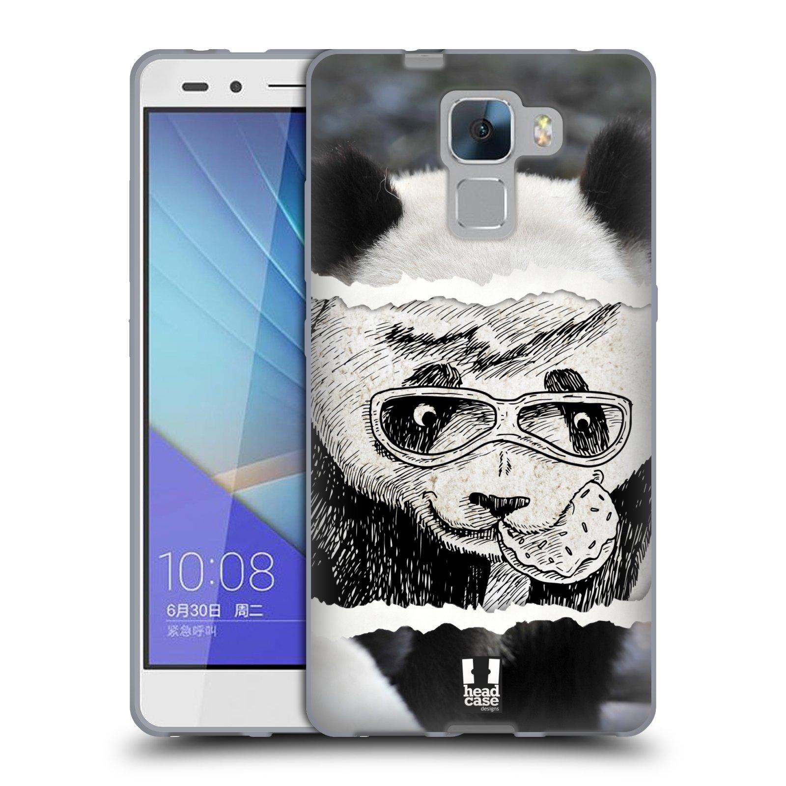HEAD CASE silikonový obal na mobil HUAWEI HONOR 7 vzor zvířata koláž roztomilá panda