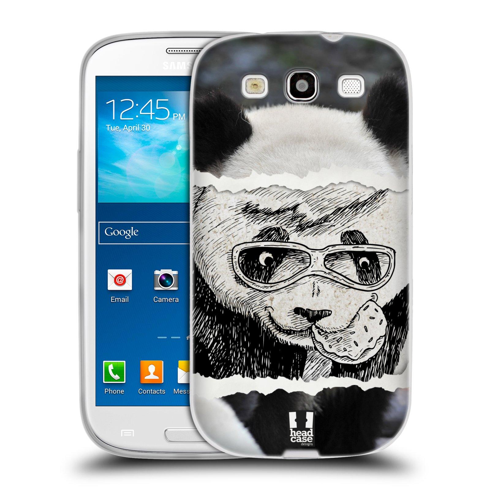 HEAD CASE silikonový obal na mobil Samsung Galaxy S3 i9300 vzor zvířata koláž roztomilá panda