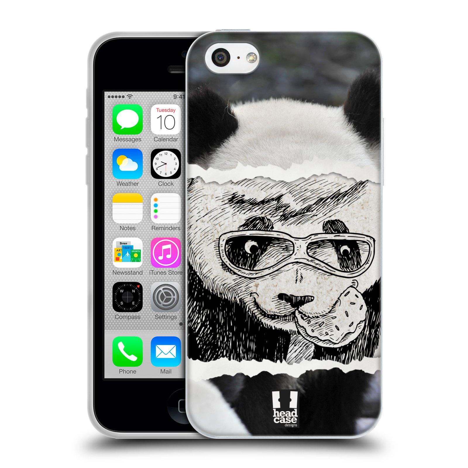 HEAD CASE silikonový obal na mobil Apple Iphone 5C vzor zvířata koláž roztomilá panda