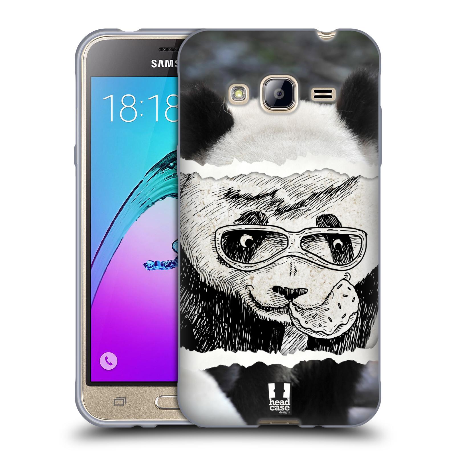 HEAD CASE silikonový obal na mobil Samsung Galaxy J3, J3 2016 vzor zvířata koláž roztomilá panda