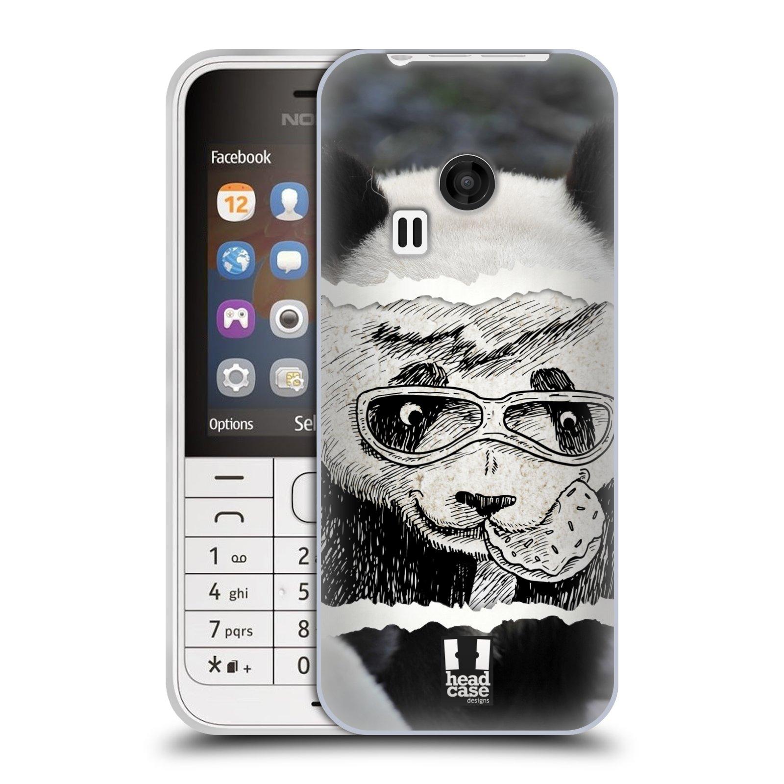 HEAD CASE silikonový obal na mobil NOKIA 220 / NOKIA 220 DUAL SIM vzor zvířata koláž roztomilá panda