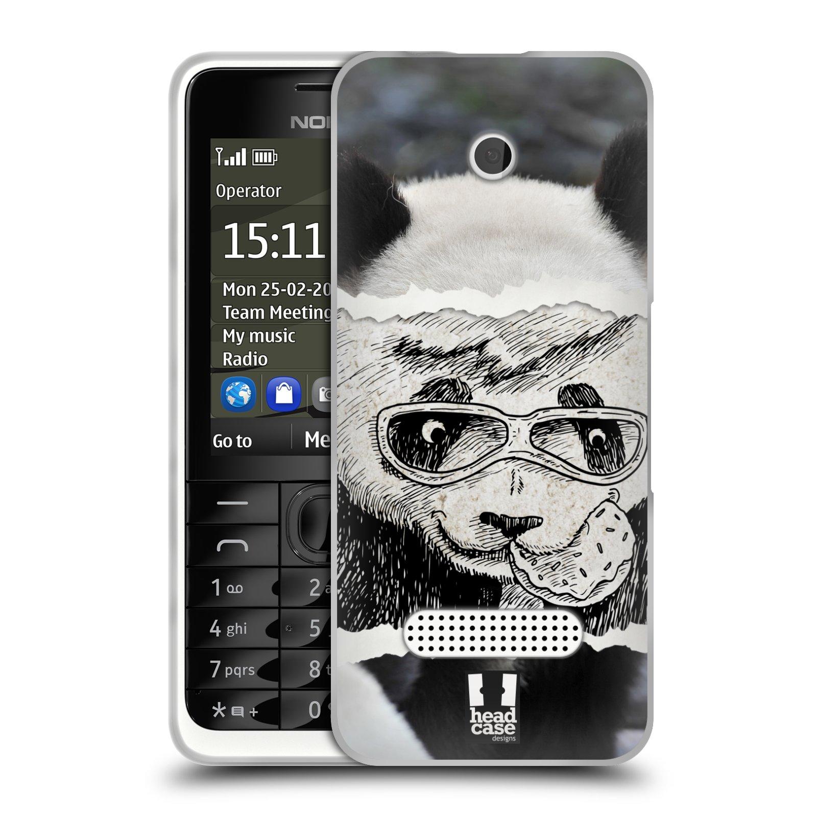 HEAD CASE silikonový obal na mobil NOKIA 301 vzor zvířata koláž roztomilá panda