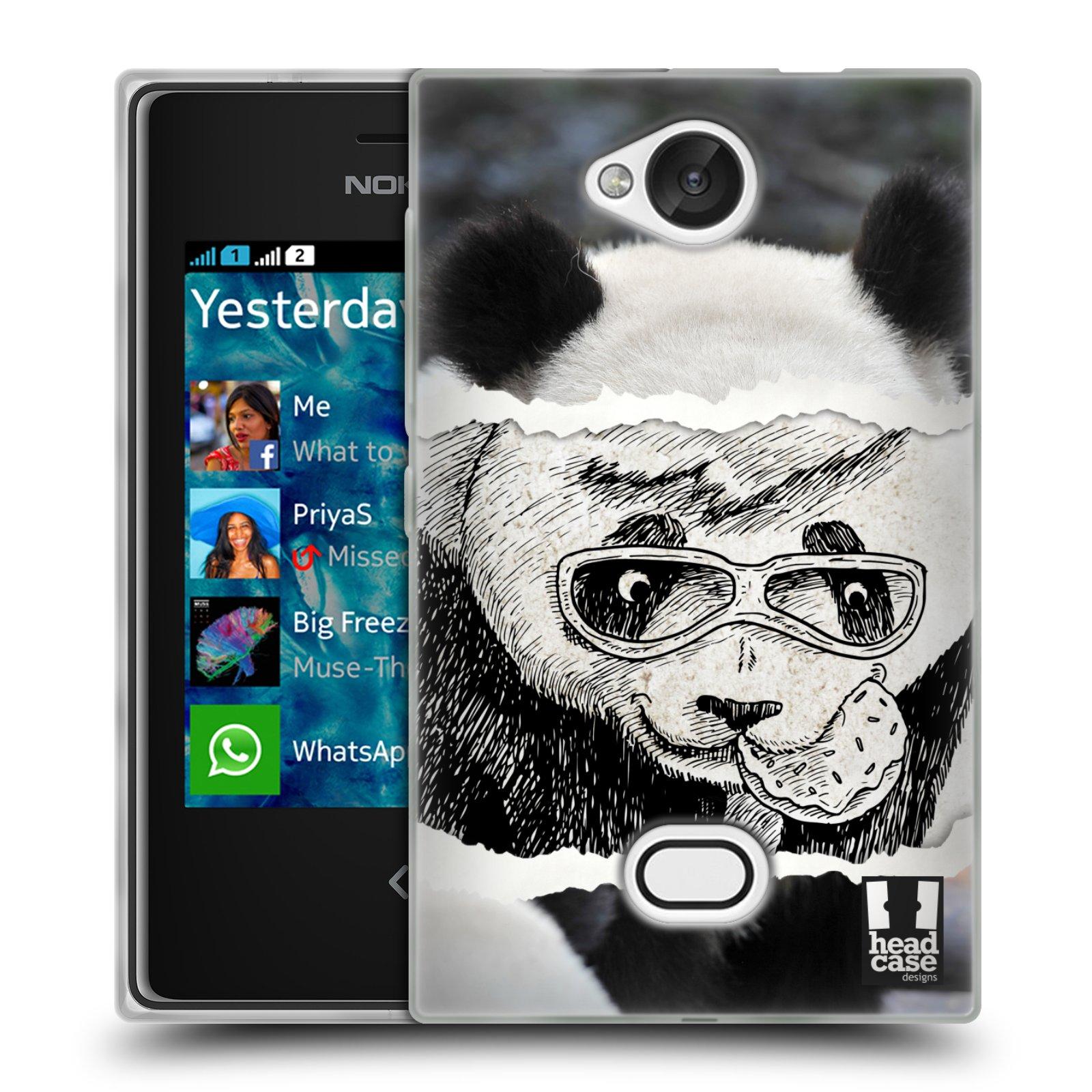 HEAD CASE silikonový obal na mobil NOKIA Asha 503 vzor zvířata koláž roztomilá panda