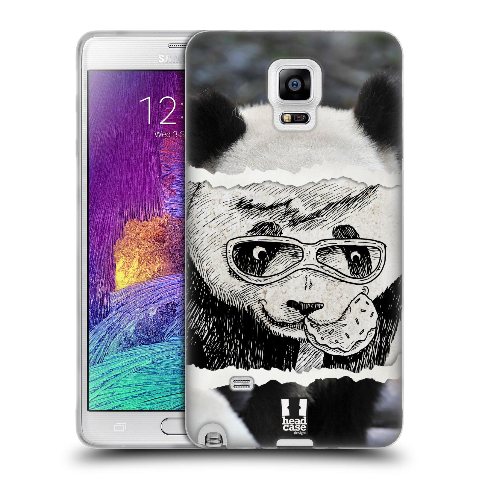 HEAD CASE silikonový obal na mobil Samsung Galaxy Note 4 (N910) vzor zvířata koláž roztomilá panda