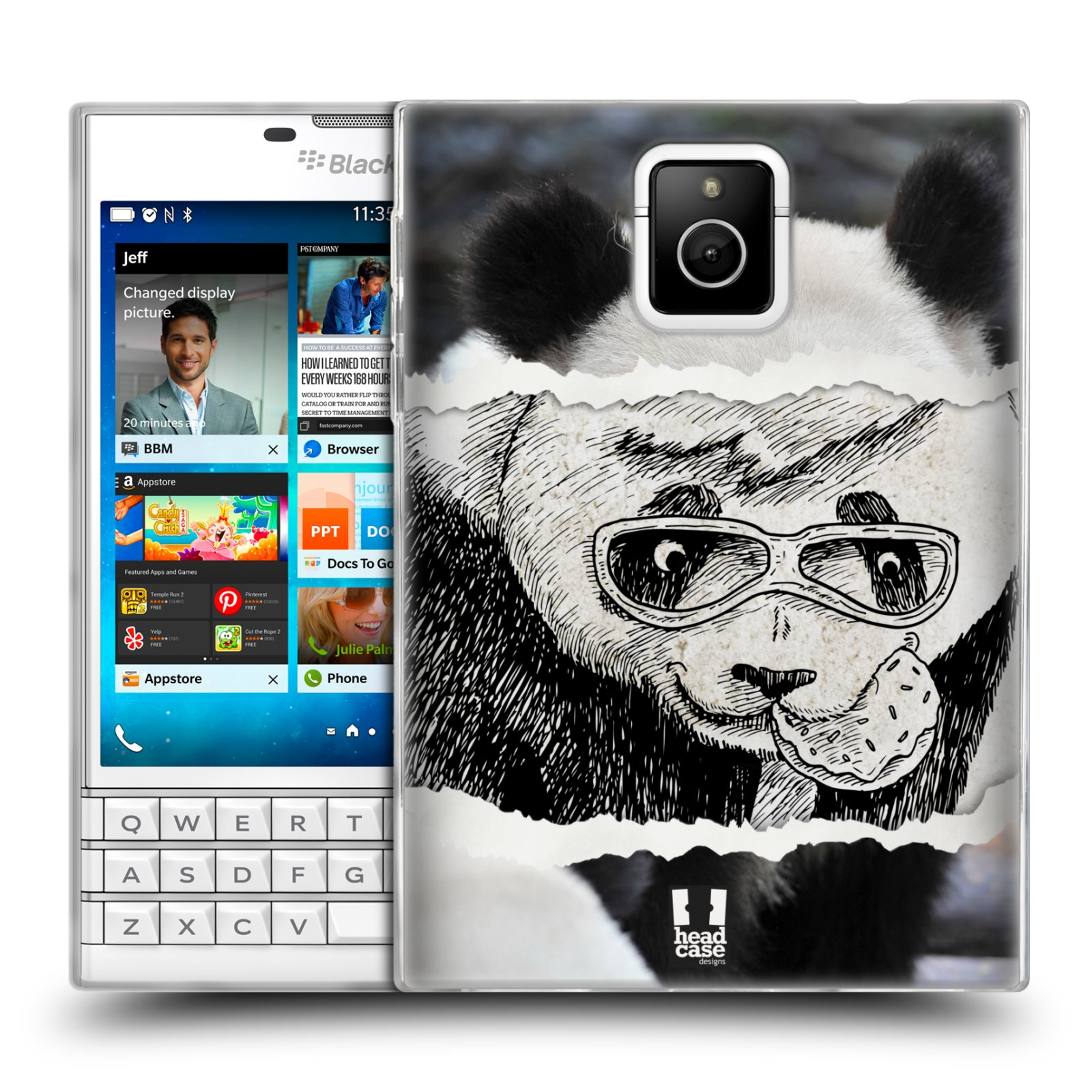 HEAD CASE silikonový obal na mobil Blackberry PASSPORT vzor zvířata koláž roztomilá panda