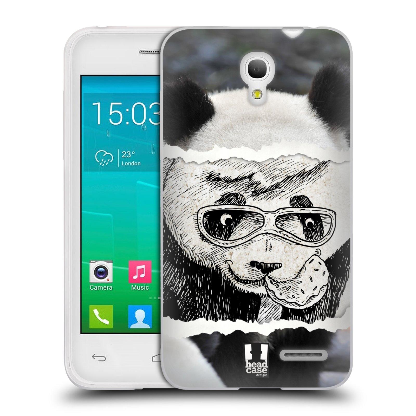 HEAD CASE silikonový obal na mobil Alcatel POP S3 OT-5050Y vzor zvířata koláž roztomilá panda