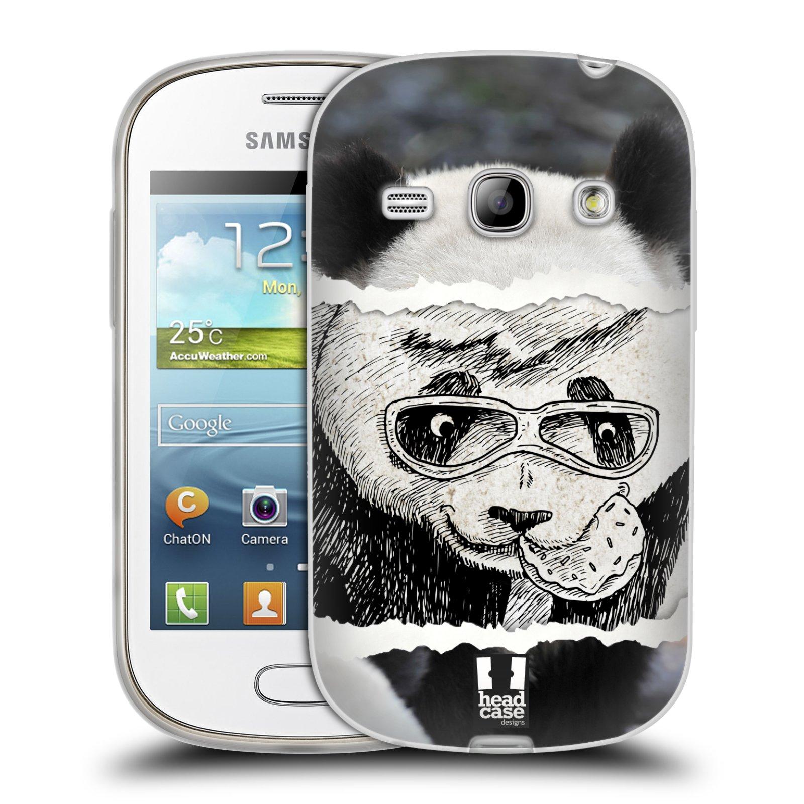 HEAD CASE silikonový obal na mobil Samsung Galaxy FAME vzor zvířata koláž roztomilá panda