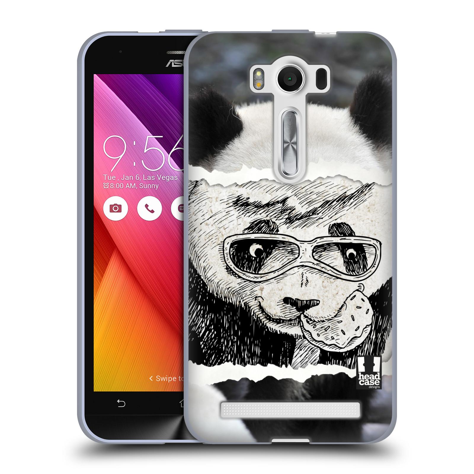 "HEAD CASE silikonový obal na mobil Asus Zenfone 2 LASER (ZE500KL s 5"" displejem) vzor zvířata koláž roztomilá panda"