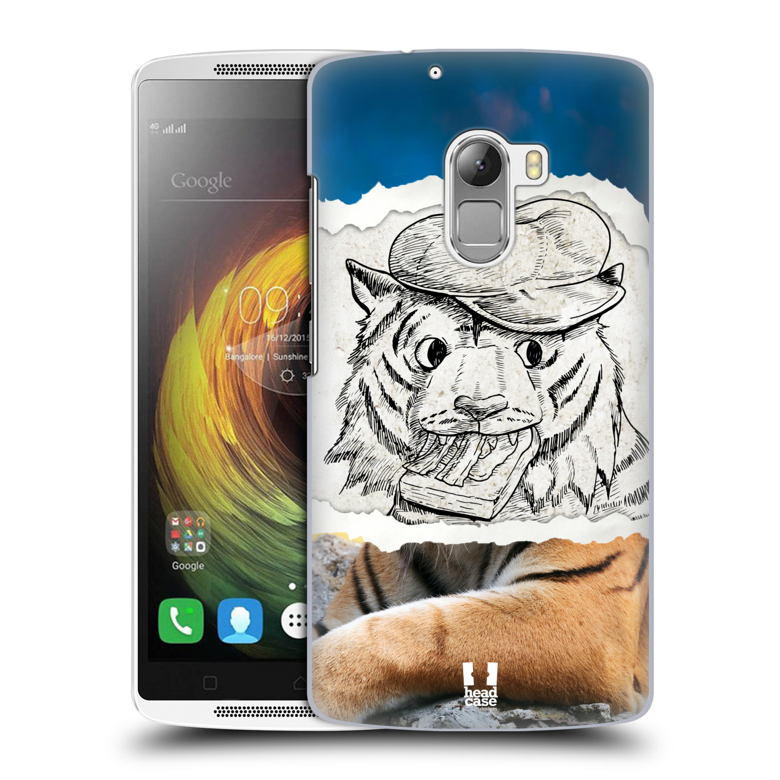 HEAD CASE pevný plastový obal na mobil LENOVO A7010 / A7010 DUAL / K4 Note / Vibe X3 lite vzor zvířata koláž tygr fešák