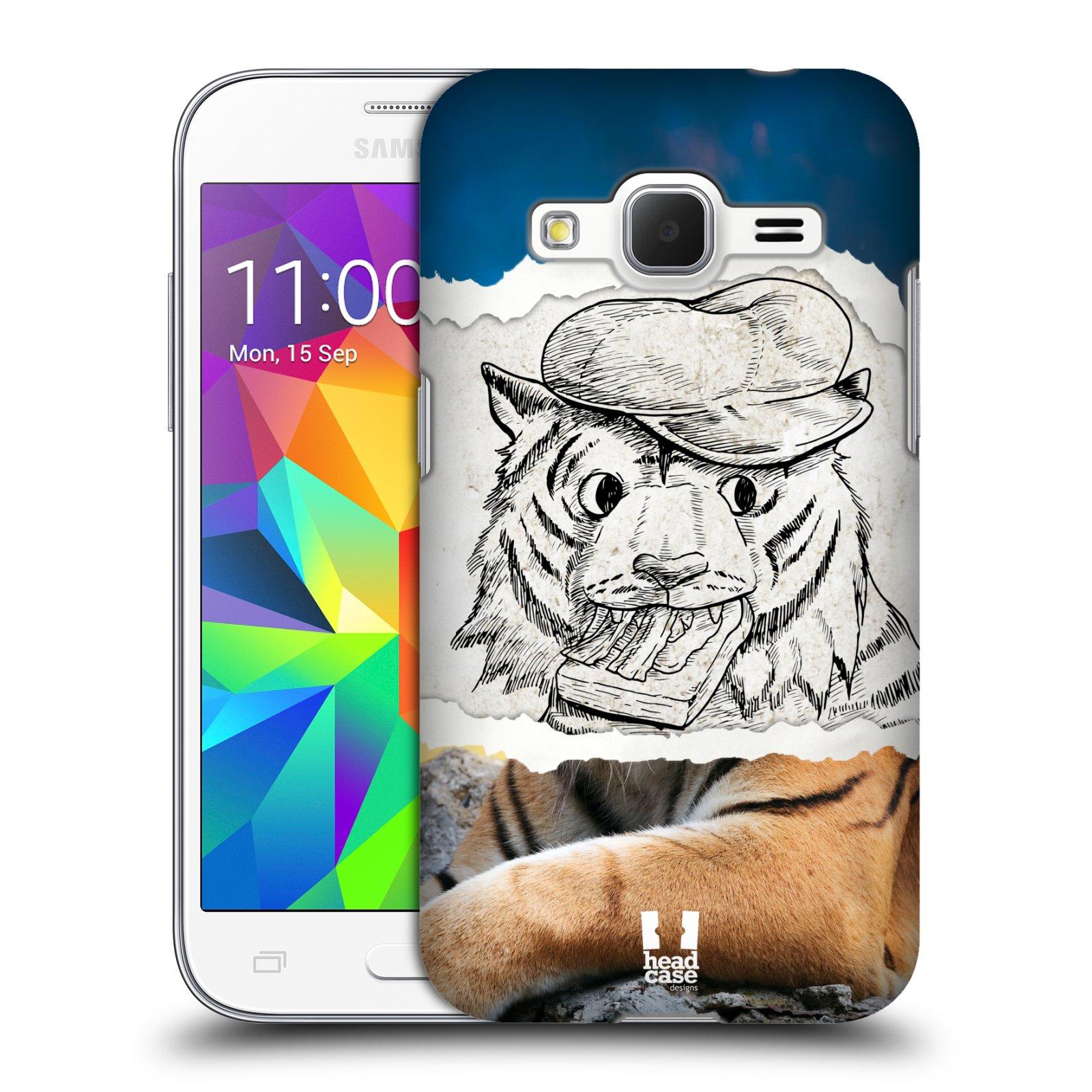 HEAD CASE plastový obal na mobil SAMSUNG GALAXY Core Prime (Core Prime VE) vzor zvířata koláž tygr fešák