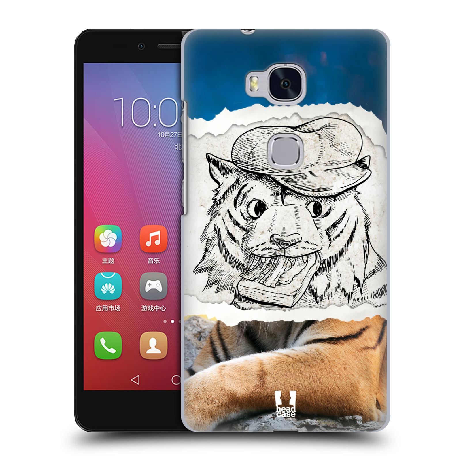 HEAD CASE pevný plastový obal na mobil HUAWEI HONOR 5X vzor zvířata koláž tygr fešák