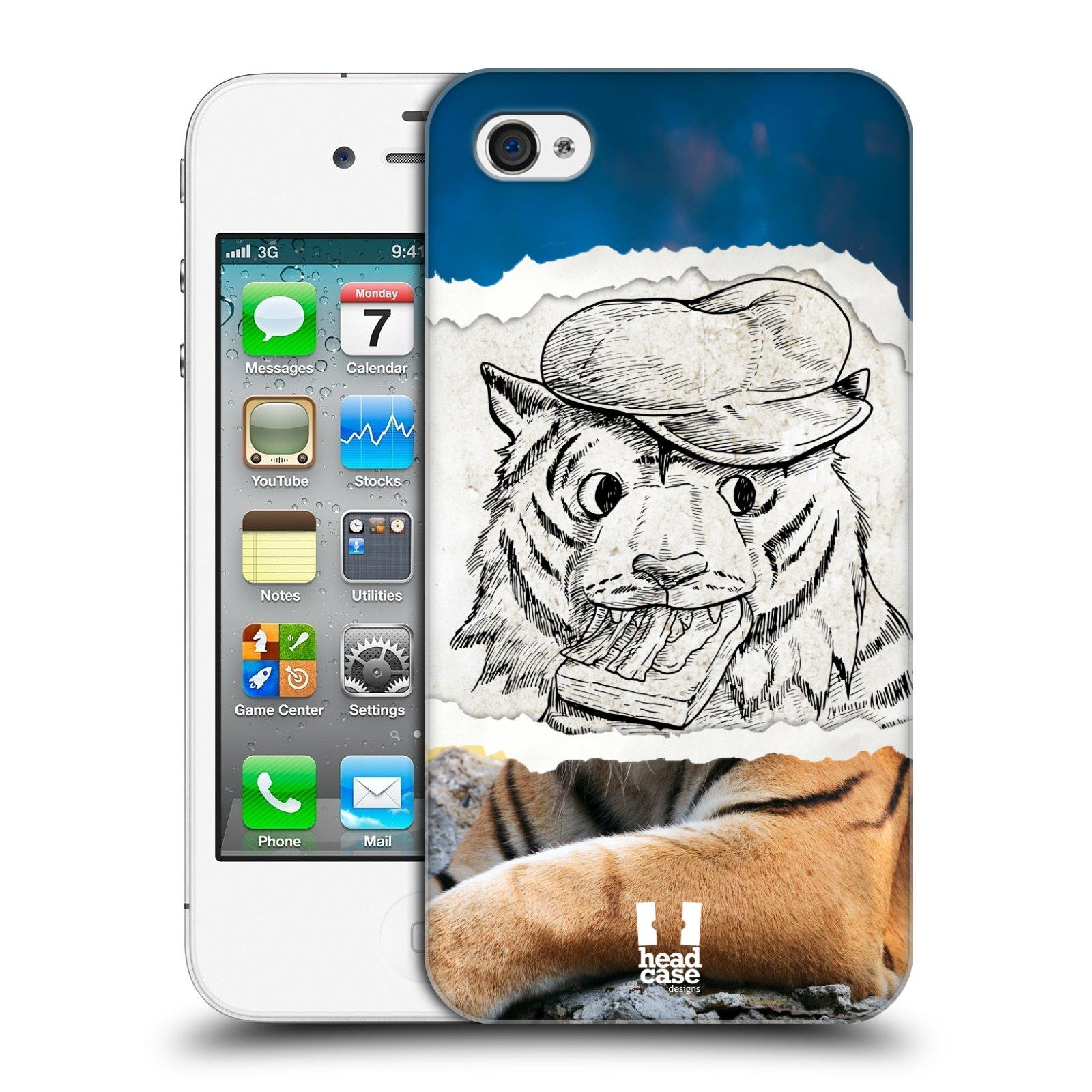 HEAD CASE plastový obal na mobil Apple Iphone 4/4S vzor zvířata koláž tygr fešák