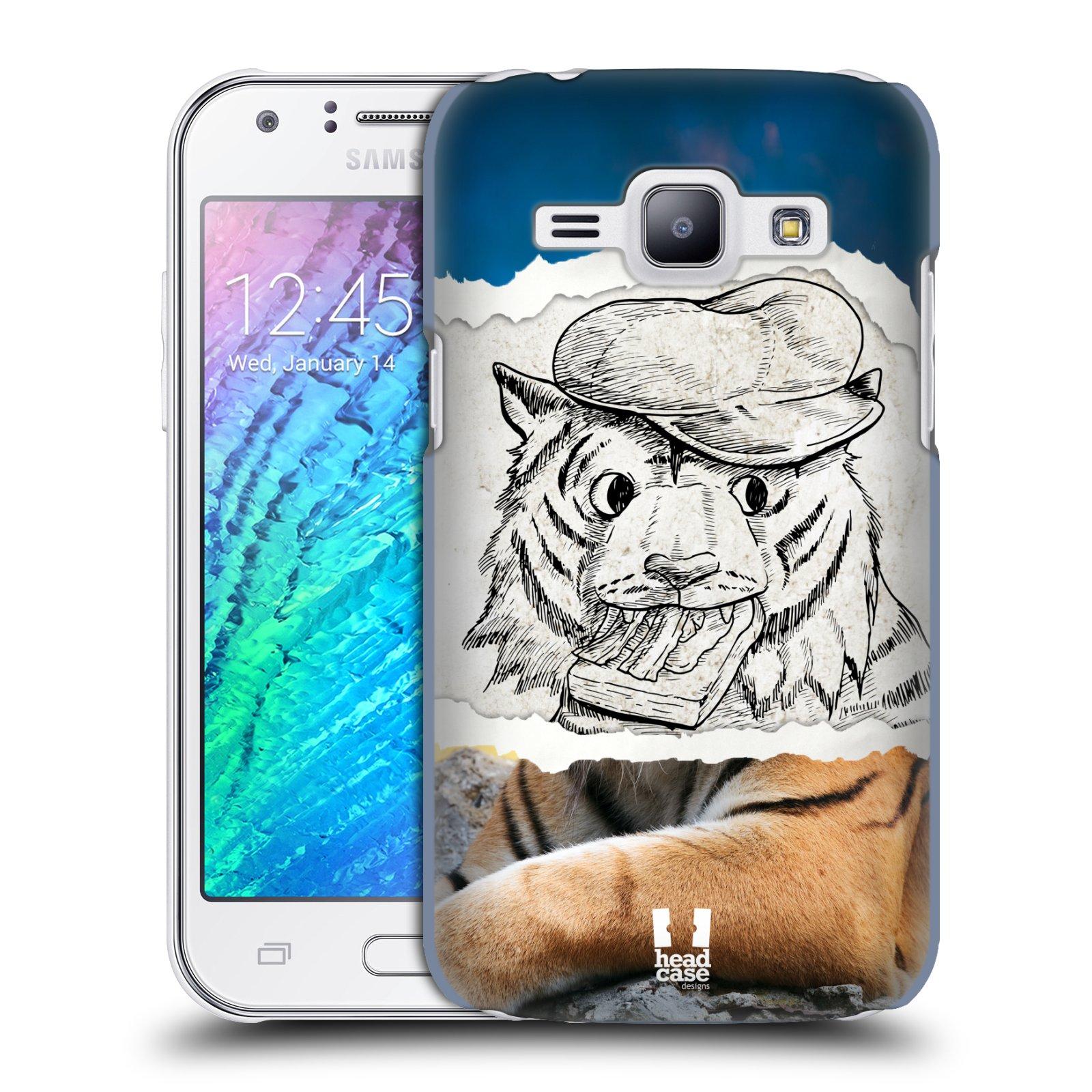 HEAD CASE plastový obal na mobil SAMSUNG Galaxy J1, J100 vzor zvířata koláž tygr fešák