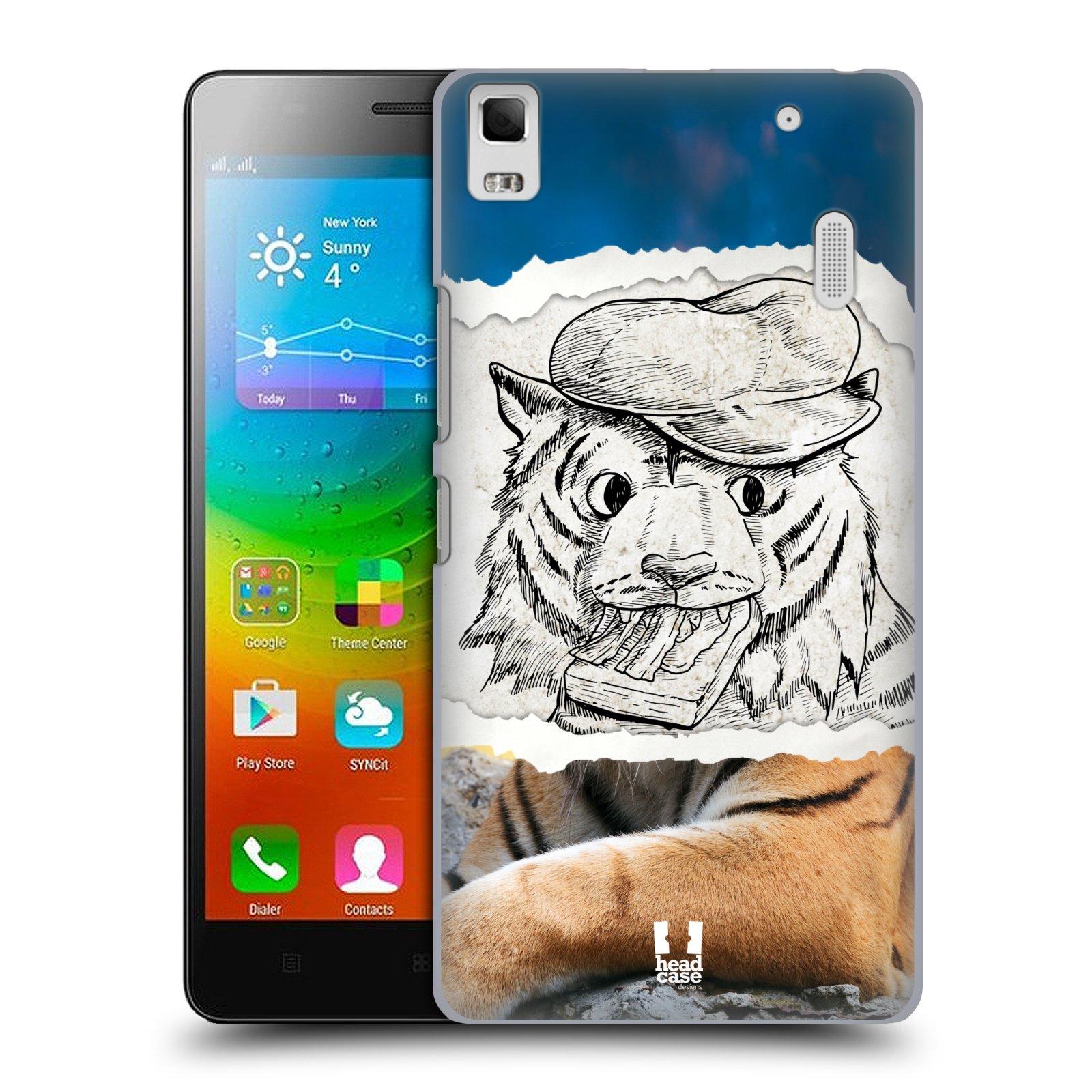 HEAD CASE pevný plastový obal na mobil LENOVO A7000 / A7000 DUAL / K3 NOTE vzor zvířata koláž tygr fešák