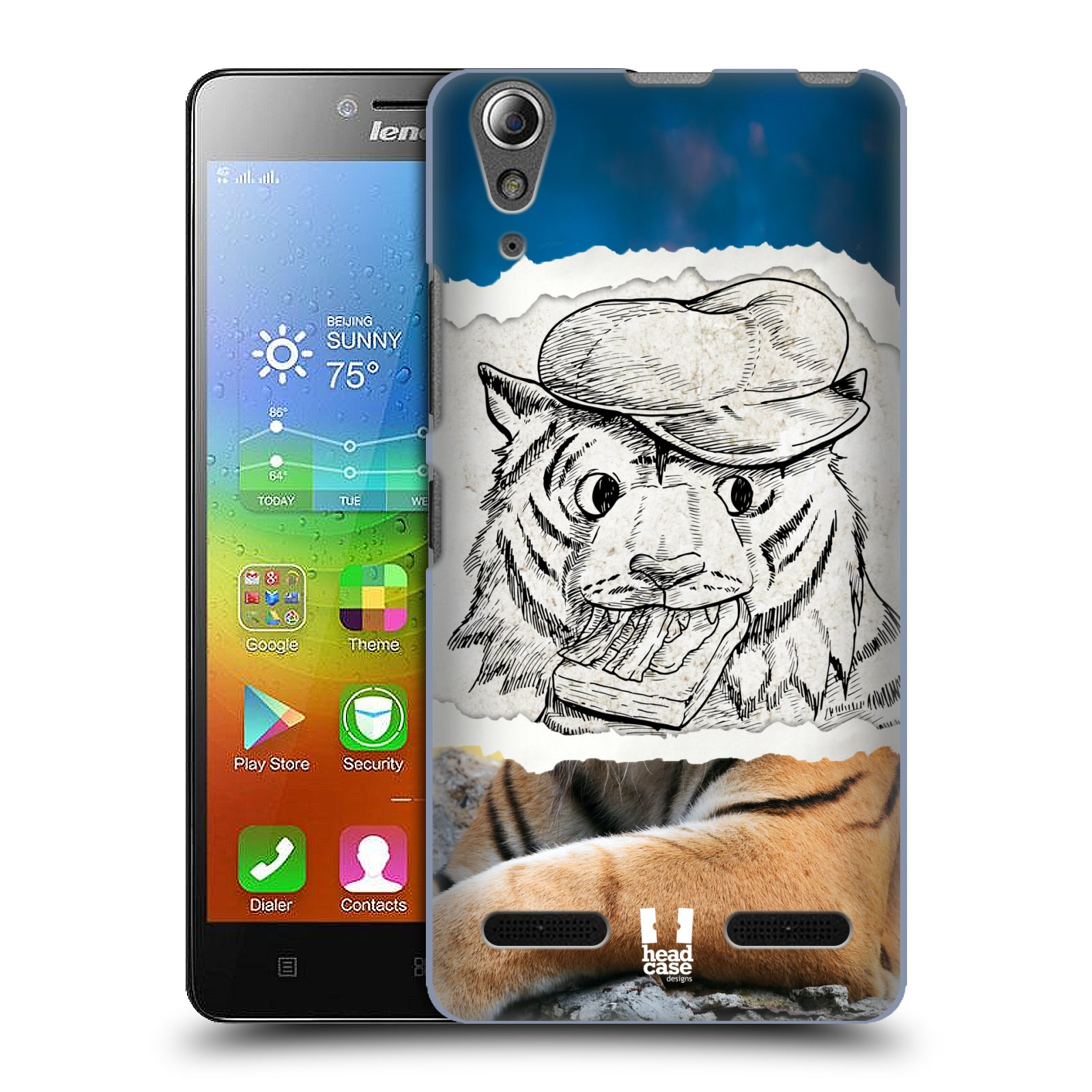 HEAD CASE pevný plastový obal na mobil LENOVO A6000 / A6000 PLUS vzor zvířata koláž tygr fešák