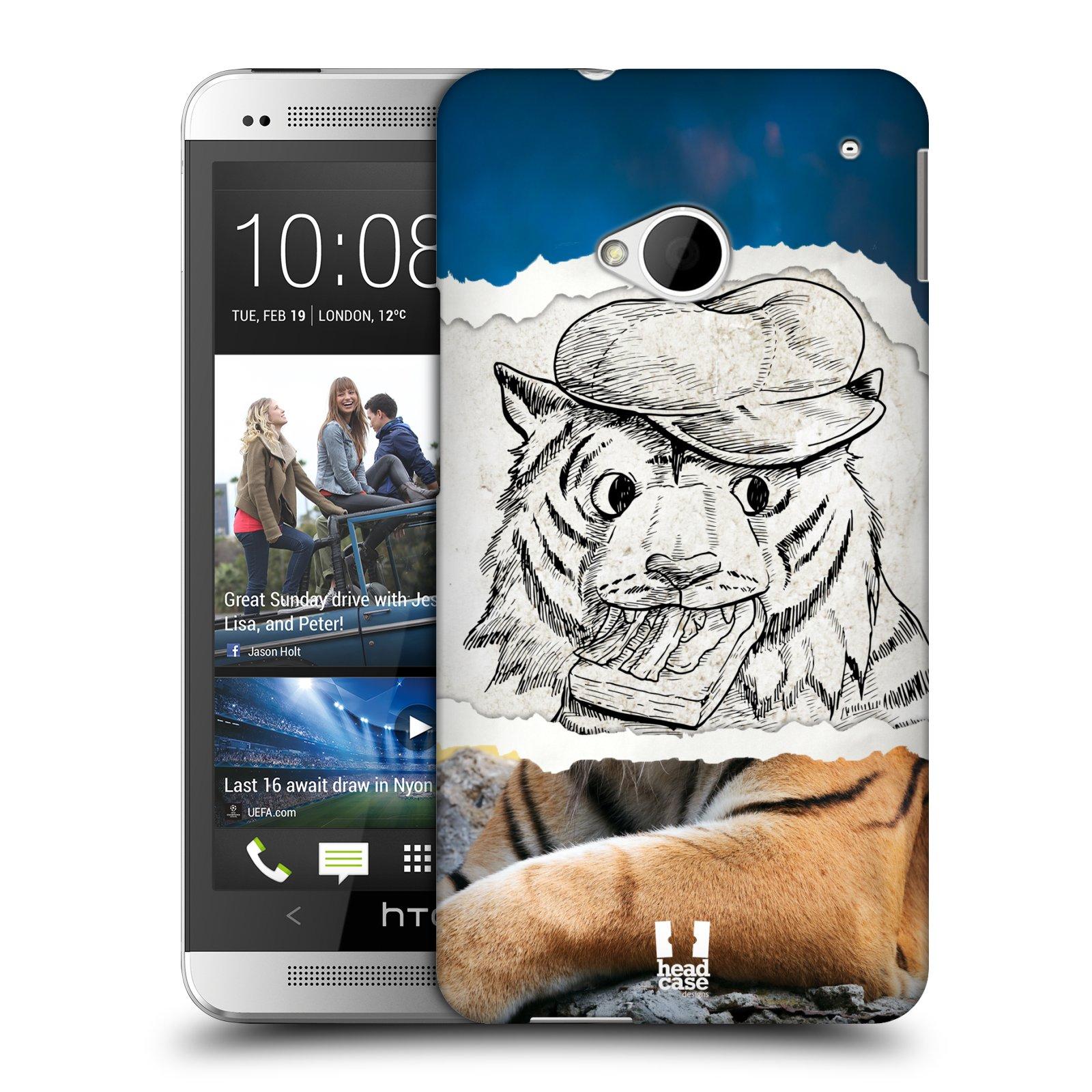 HEAD CASE plastový obal na mobil HTC One (M7) vzor zvířata koláž tygr fešák