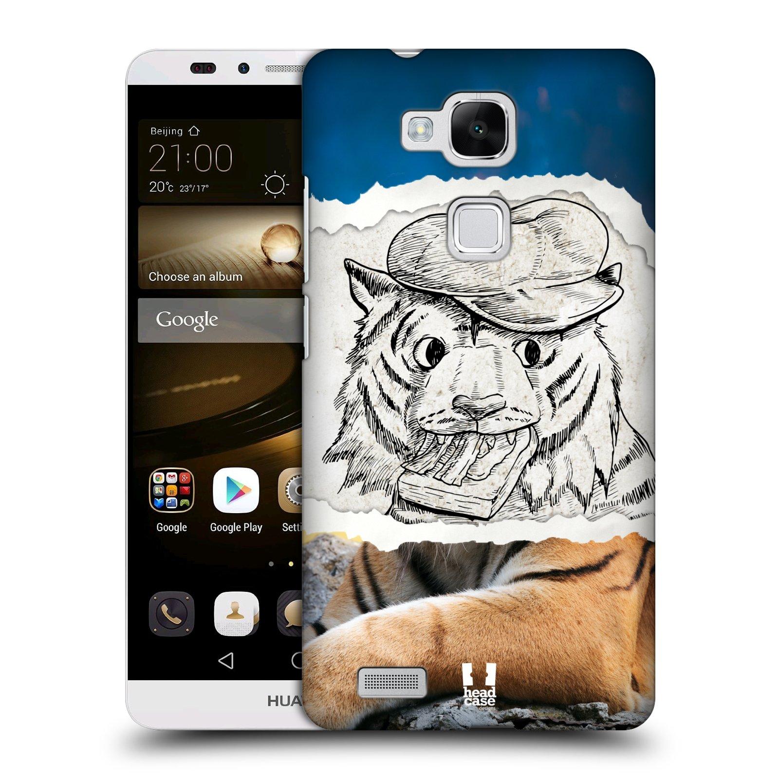 HEAD CASE plastový obal na mobil Huawei Mate 7 vzor zvířata koláž tygr fešák