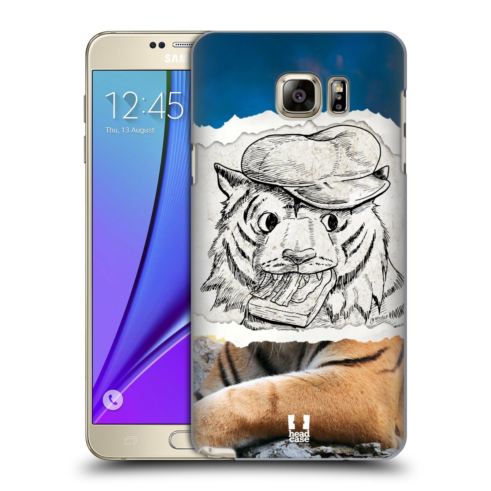 HEAD CASE plastový obal na mobil SAMSUNG Galaxy Note 5 (N920) vzor zvířata koláž tygr fešák
