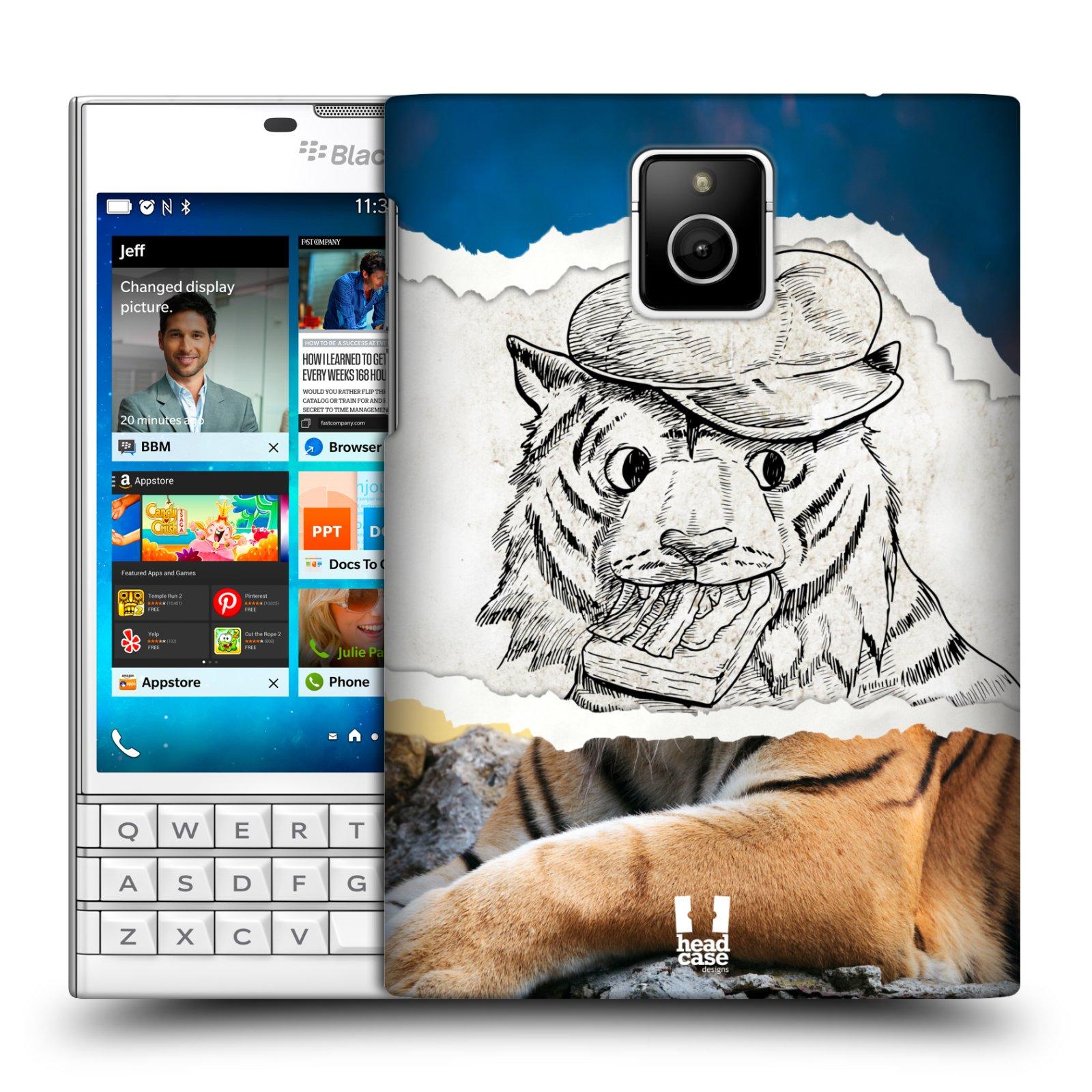 HEAD CASE plastový obal na mobil BlackBerry Passport vzor zvířata koláž tygr fešák