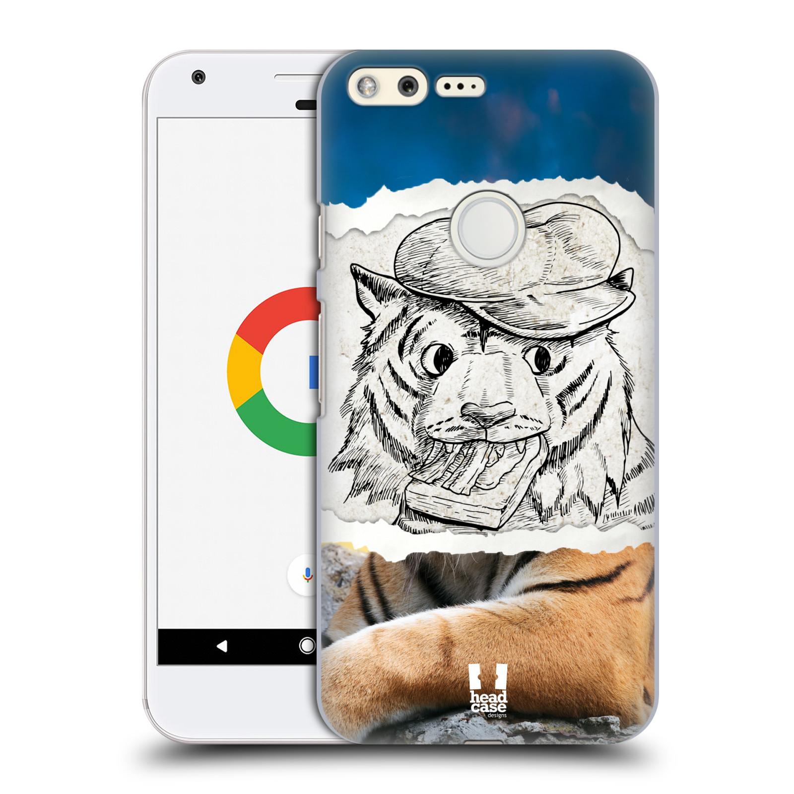 HEAD CASE plastový obal na mobil GOOGLE Pixel vzor zvířata koláž tygr fešák