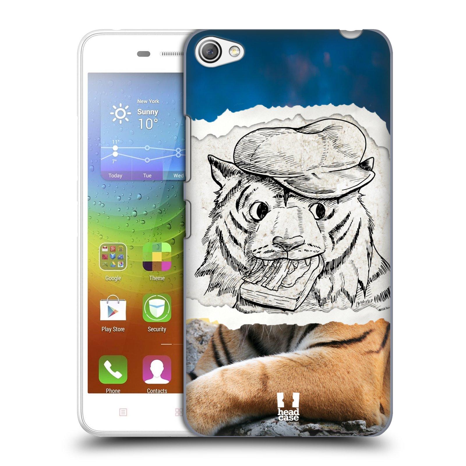HEAD CASE pevný plastový obal na mobil LENOVO S60 / LENOVO S60 DUAL SIM vzor zvířata koláž tygr fešák