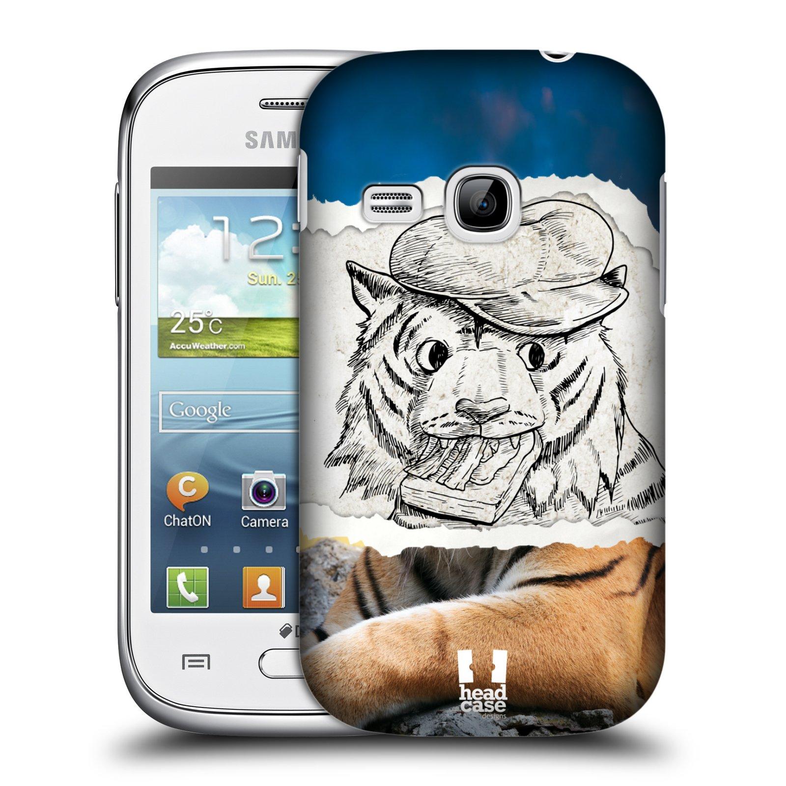 HEAD CASE plastový obal na mobil SAMSUNG Galaxy Young S6310 vzor zvířata koláž tygr fešák