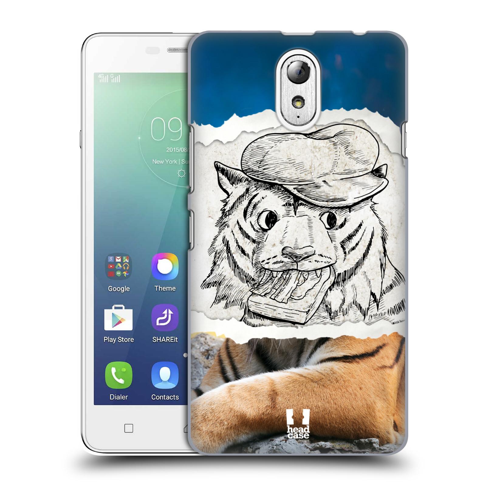 HEAD CASE pevný plastový obal na mobil LENOVO VIBE P1m / LENOVO VIBE p1m DUAL SIM vzor zvířata koláž tygr fešák